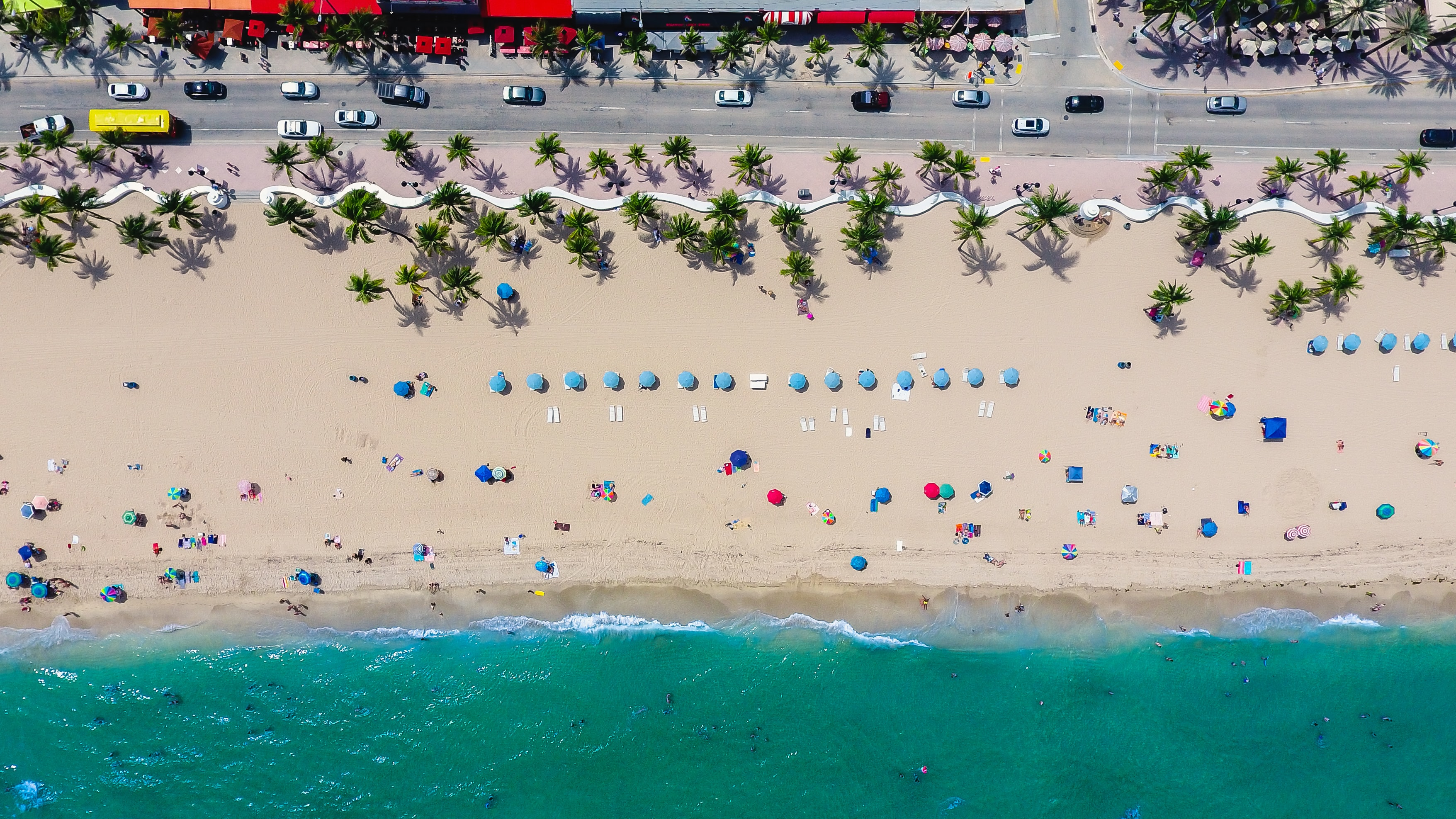 A drone shot of people vacationing on a beach lined with palm trees and blue umbrellas