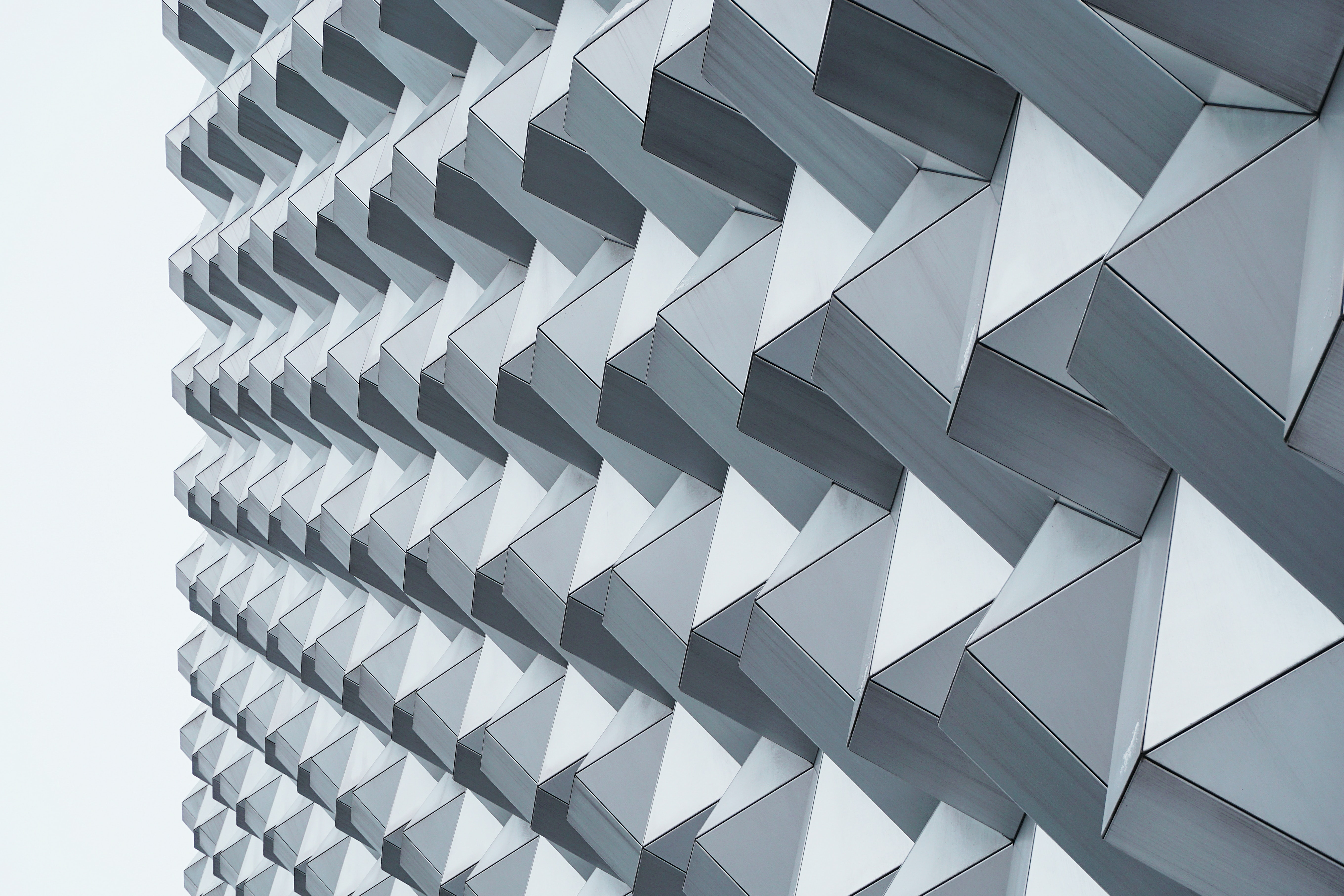 An abstract pattern in a gray building facade in Dresden