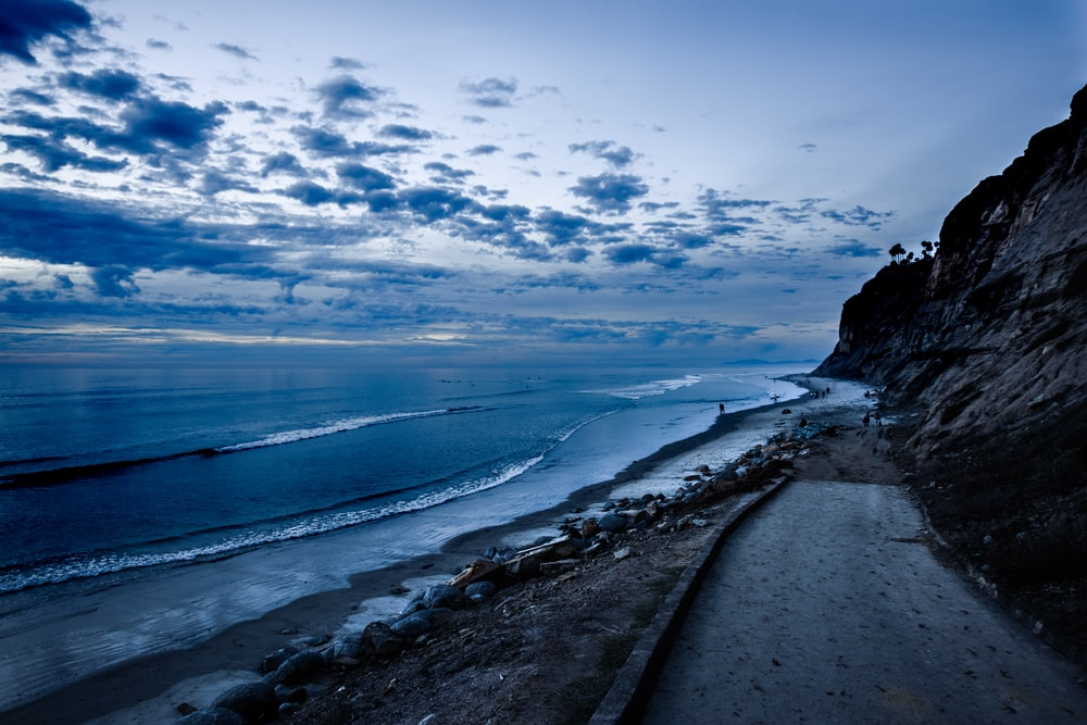roadway near shoreline landscape photography