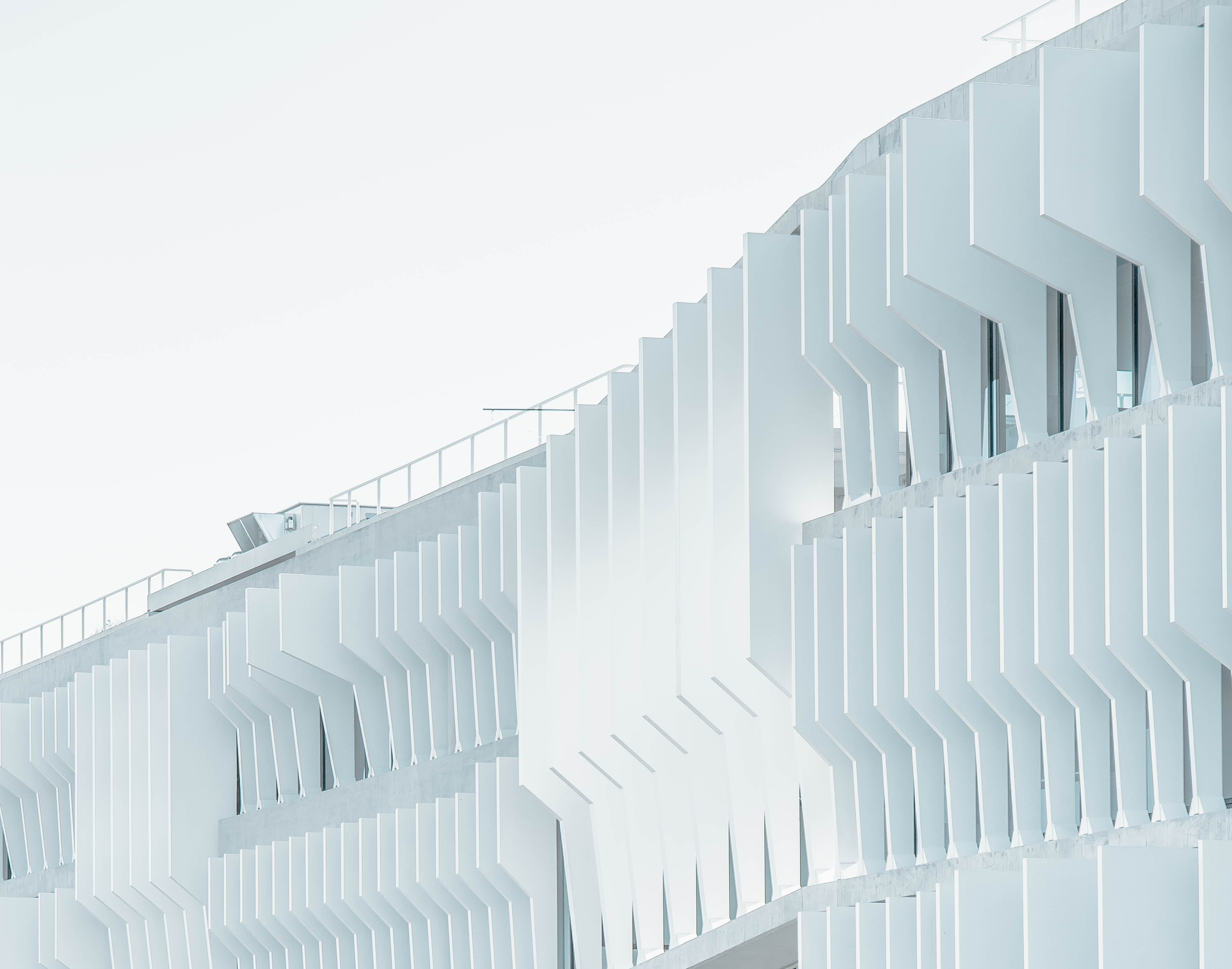 A white facade viewed from a drone in Madrid