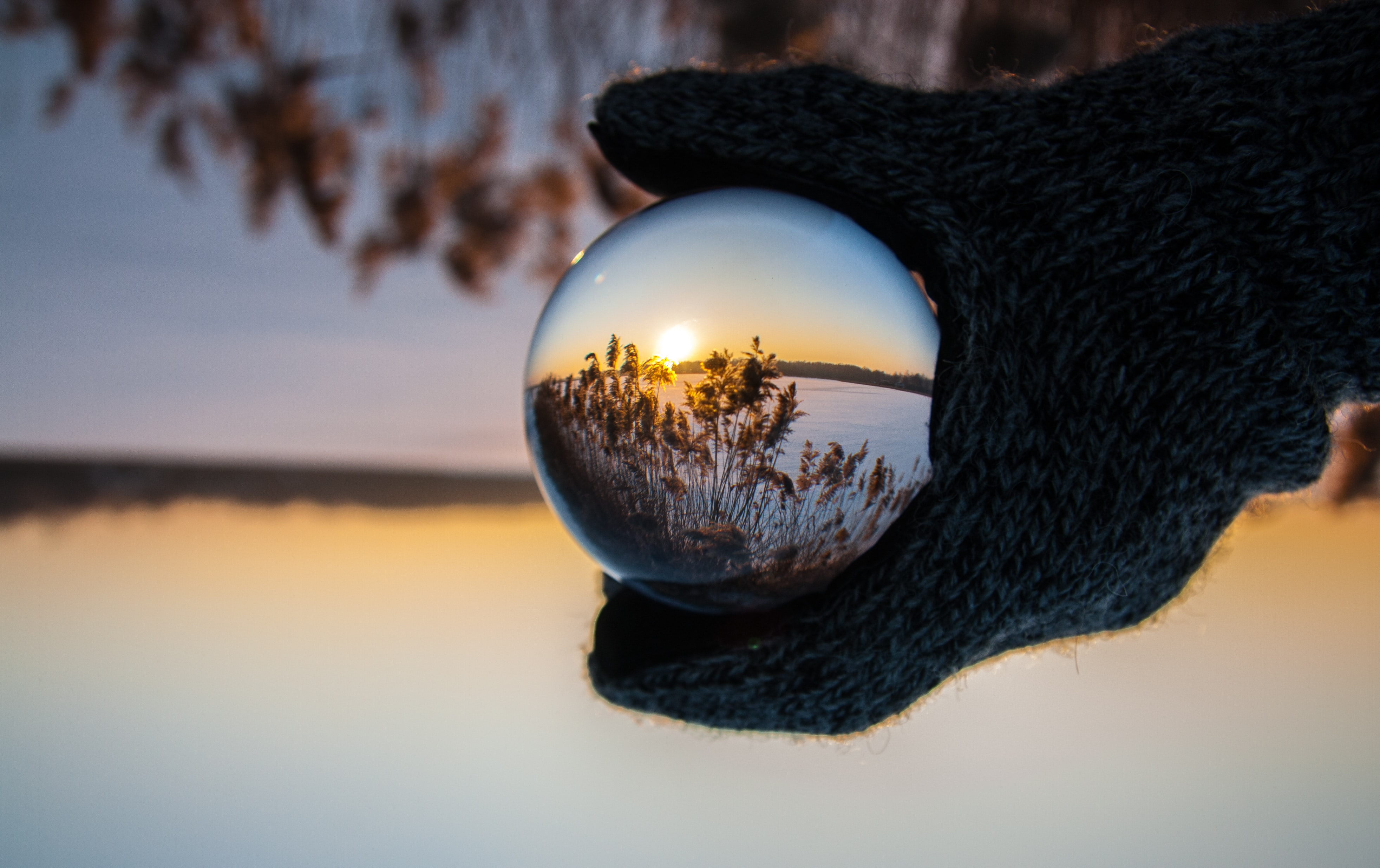 person wearing black gloves holding glass ball reflecting body of water with sunlight