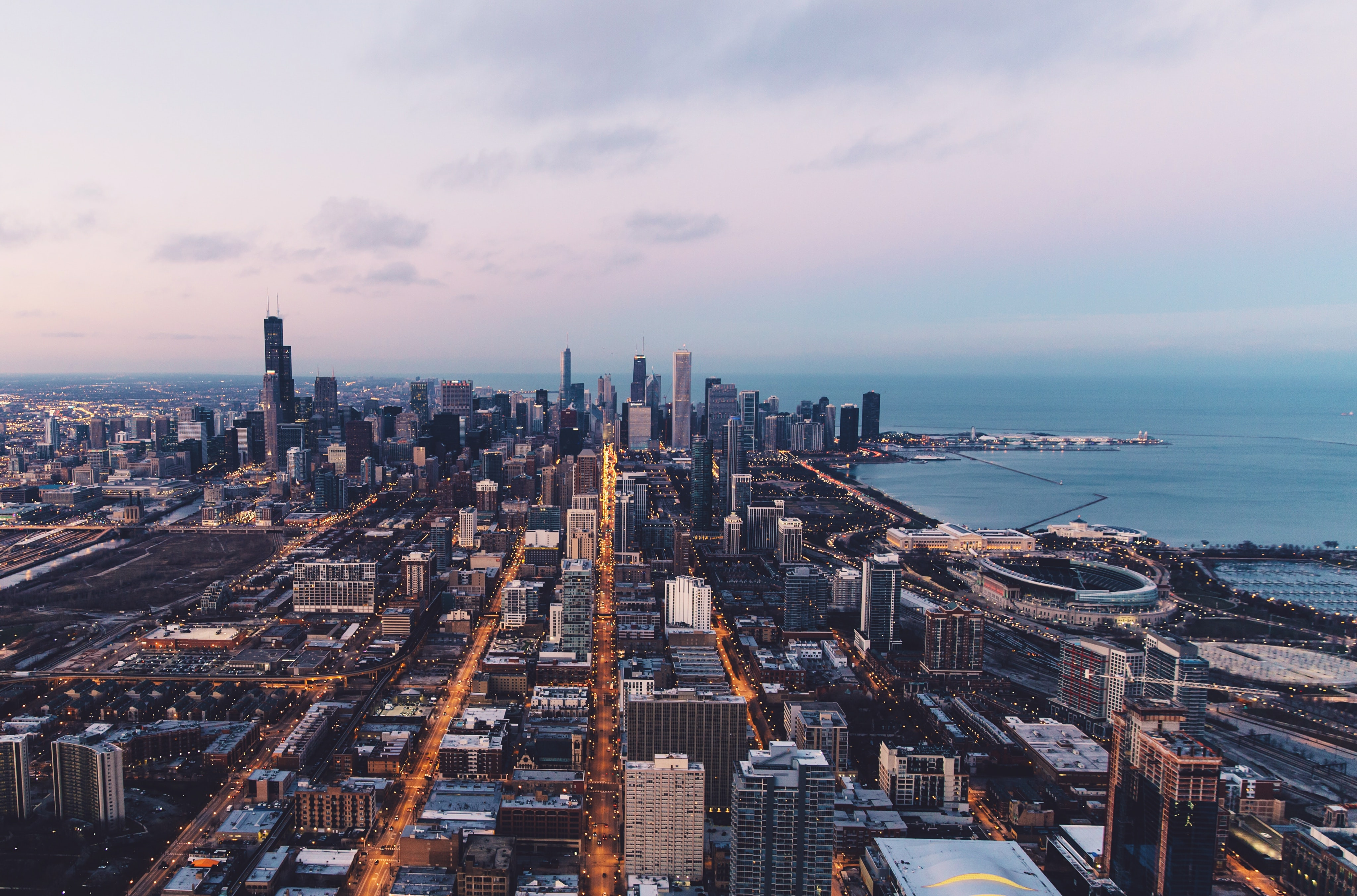 The skyline of Chicago with a view on Lake Michigan on an evening