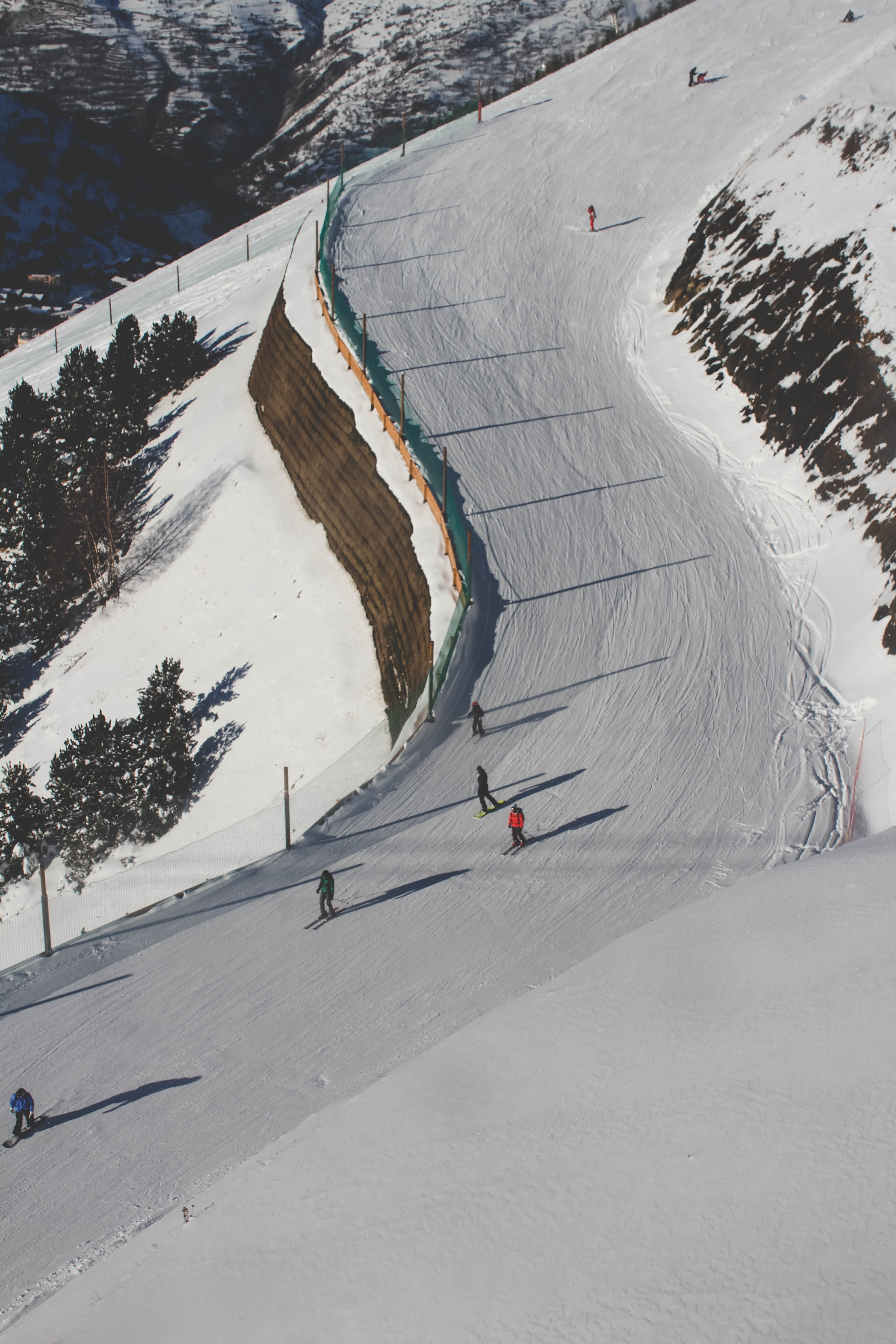 A steep slope on a ski mountain going down a France ski resort, Les 2 Alpes