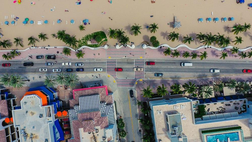 aerial photo of buildings near beach