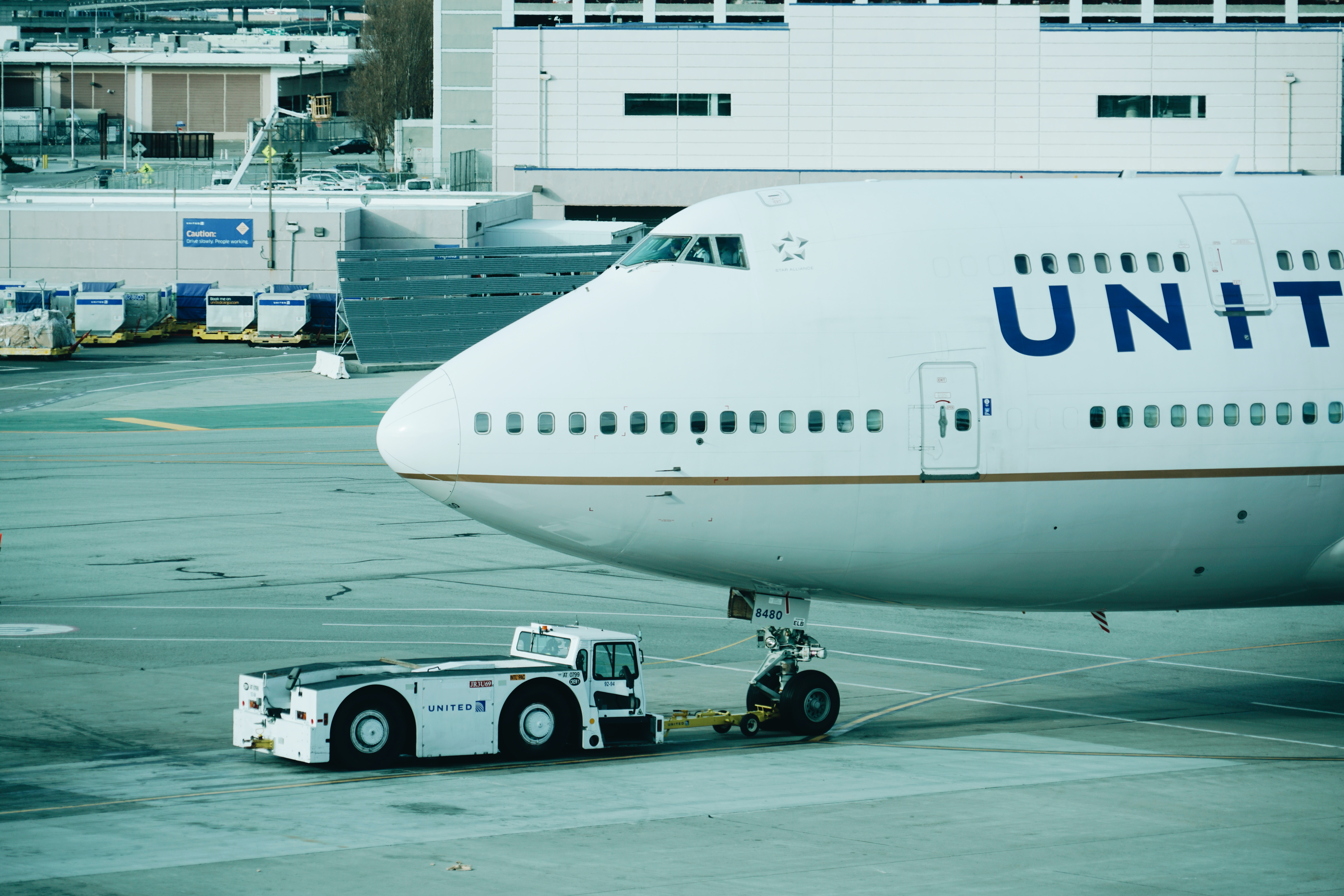 The front of an United airplane on the runway of San Francisco International Airport