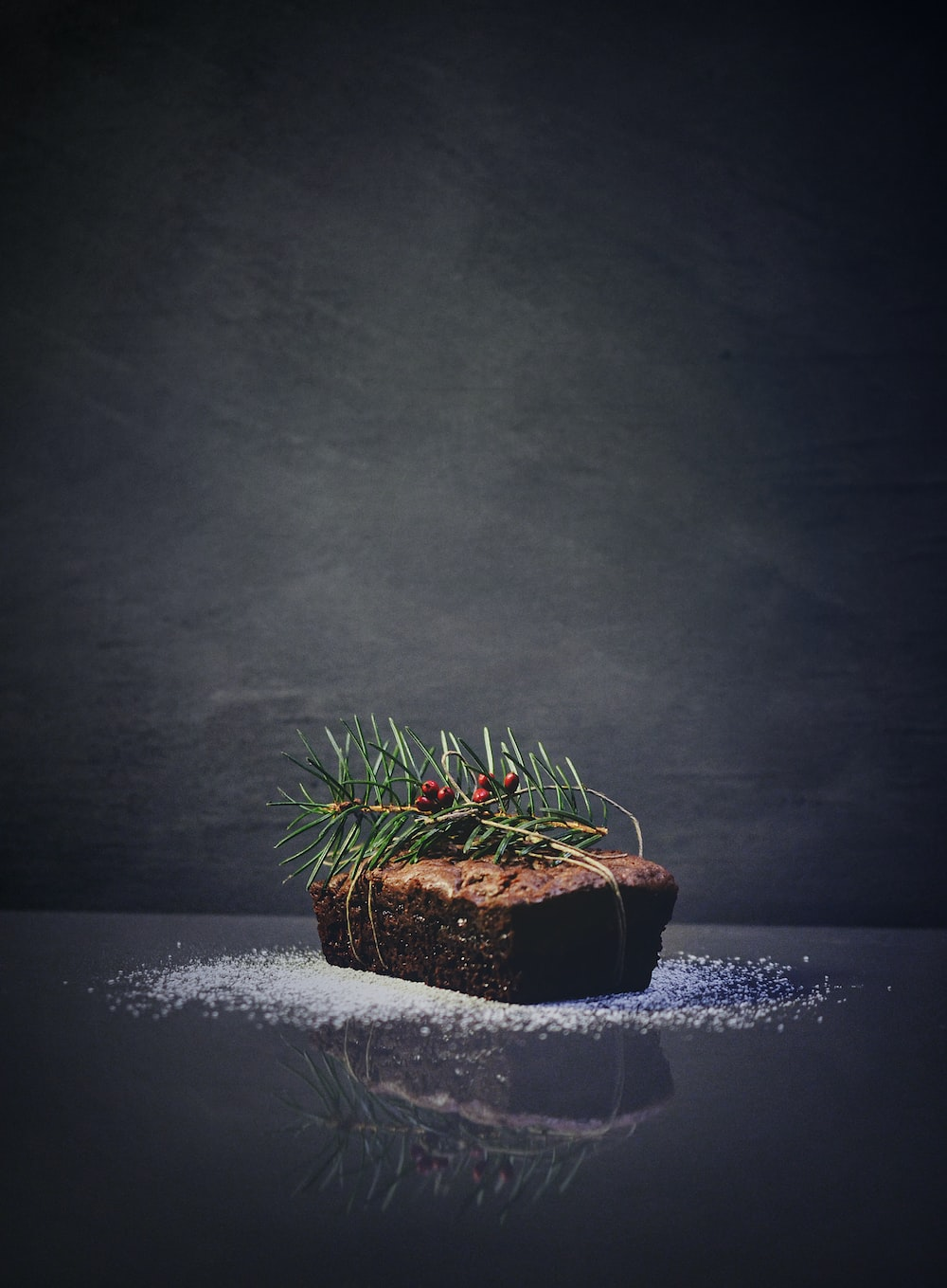 green plants on baked bread