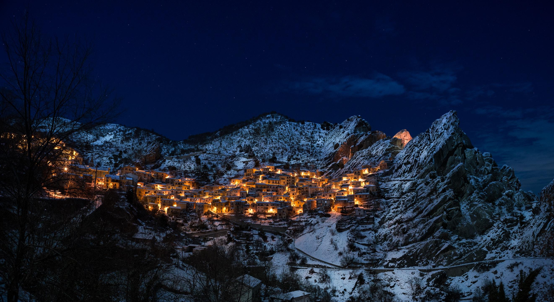 mountain during night