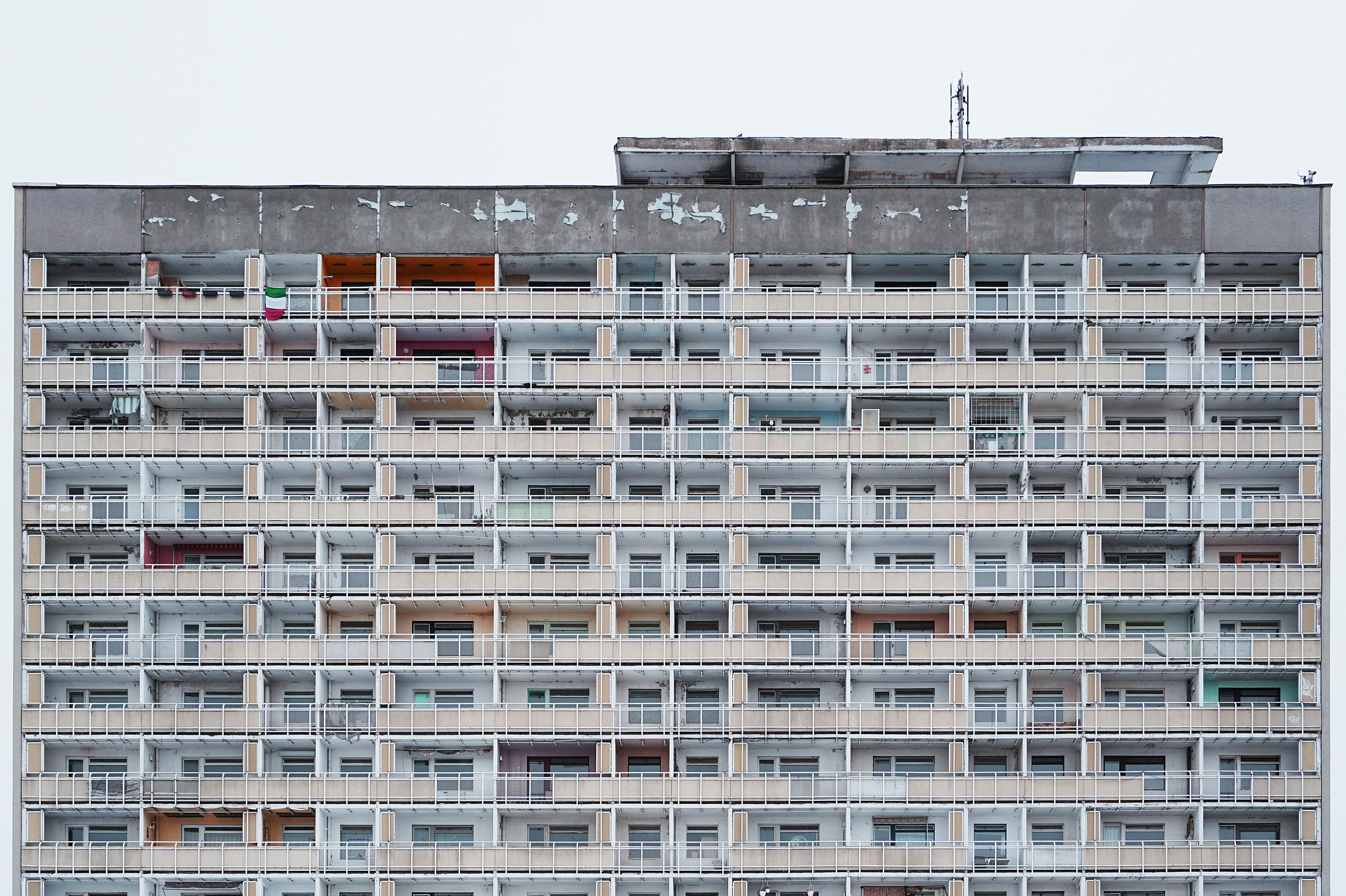 Rundown urban high-rise apartments in Dresden, Saxony, Germany on a gray day