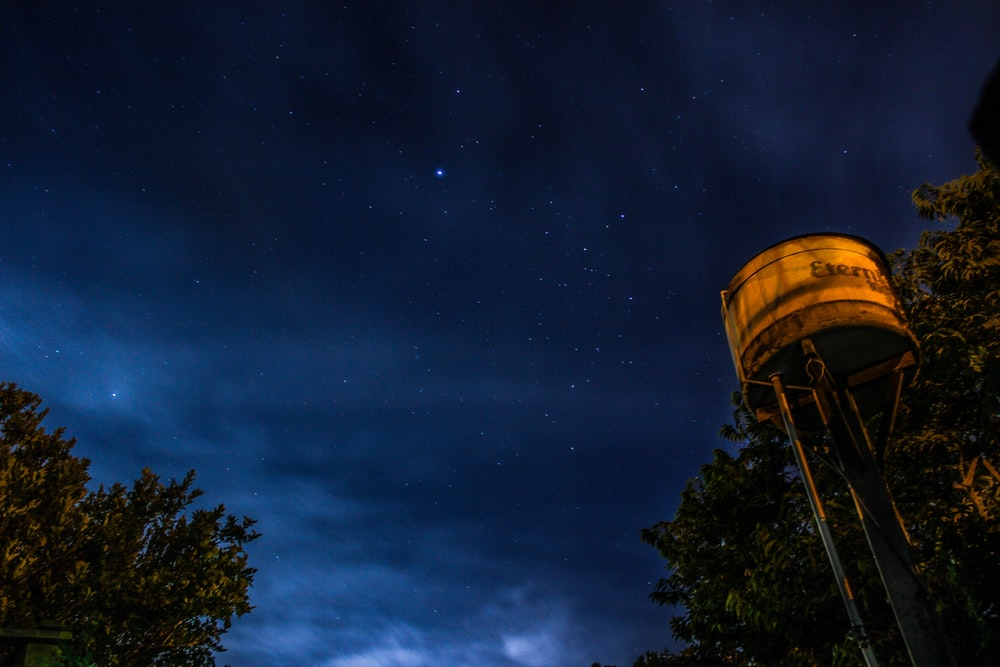 worm's-eye view photography of white steel tank beside green tree under starry sky