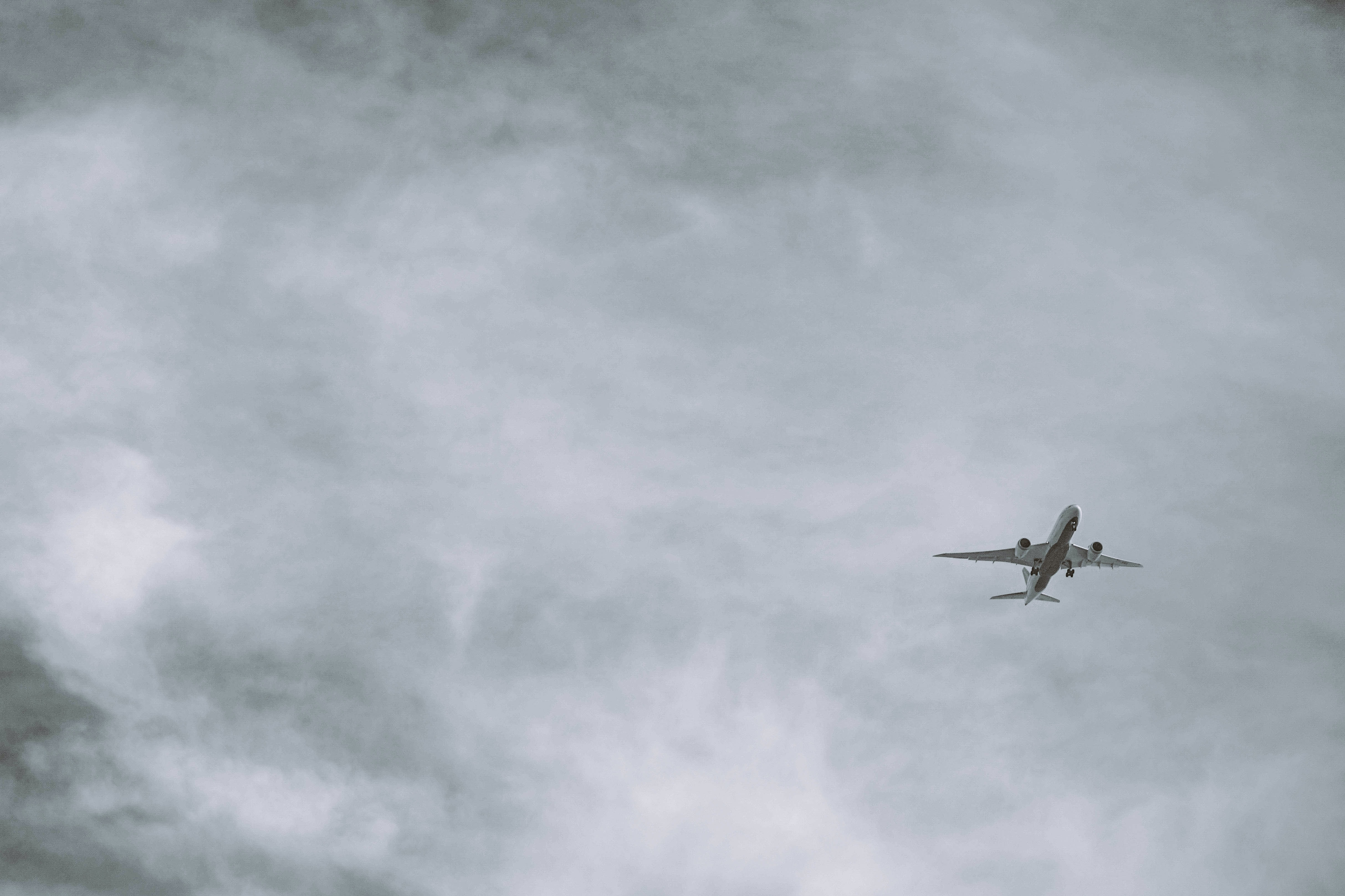 grayscale photo of airliner