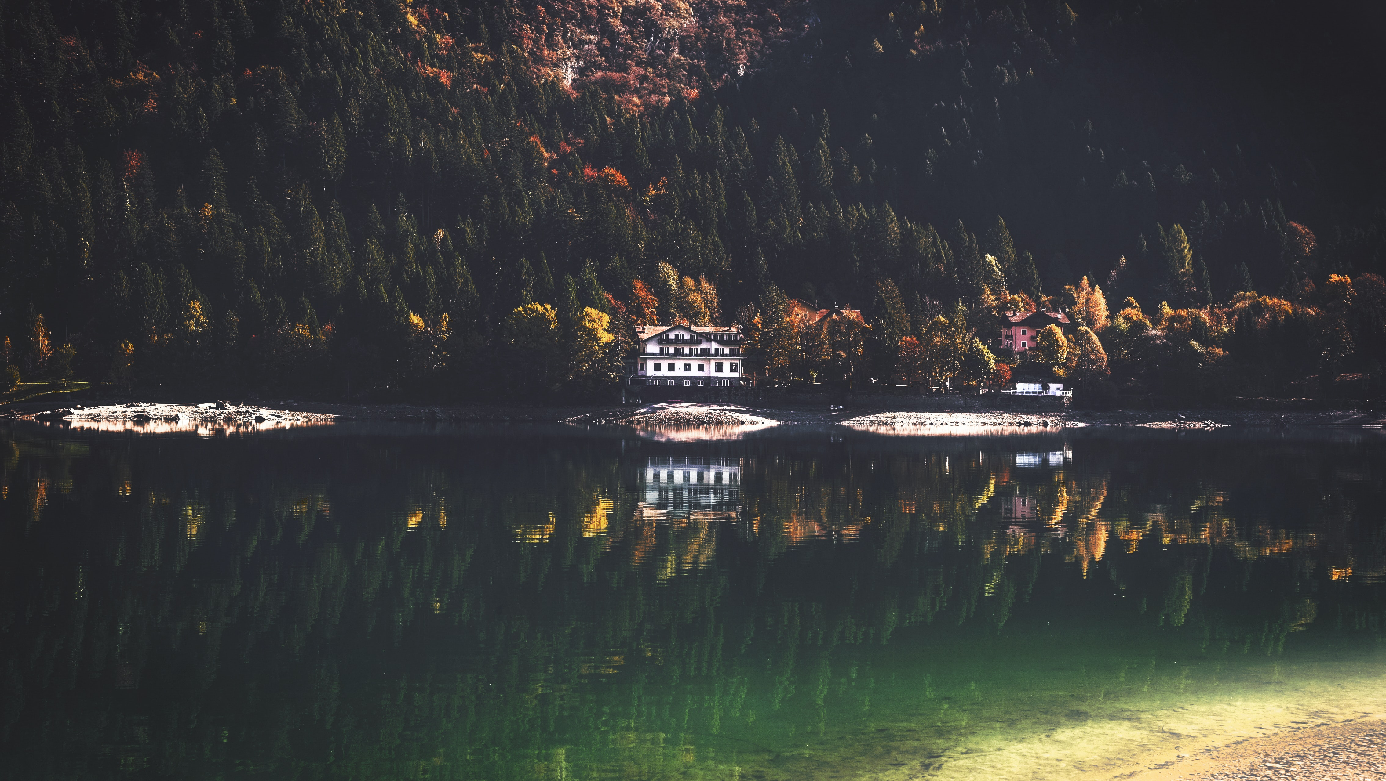 wooden house near mountain with trees and lake at daytime
