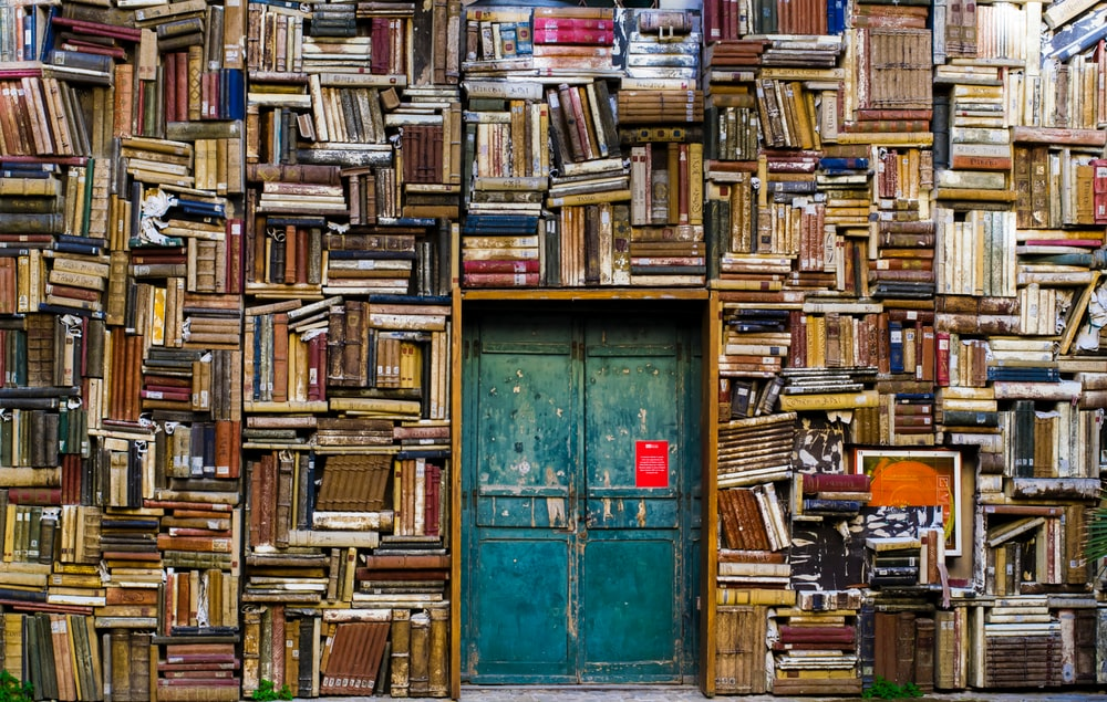 A large number of books covering the walls of a room with an old double door