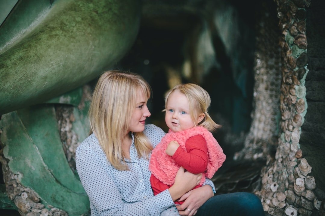 Blonde mother and child