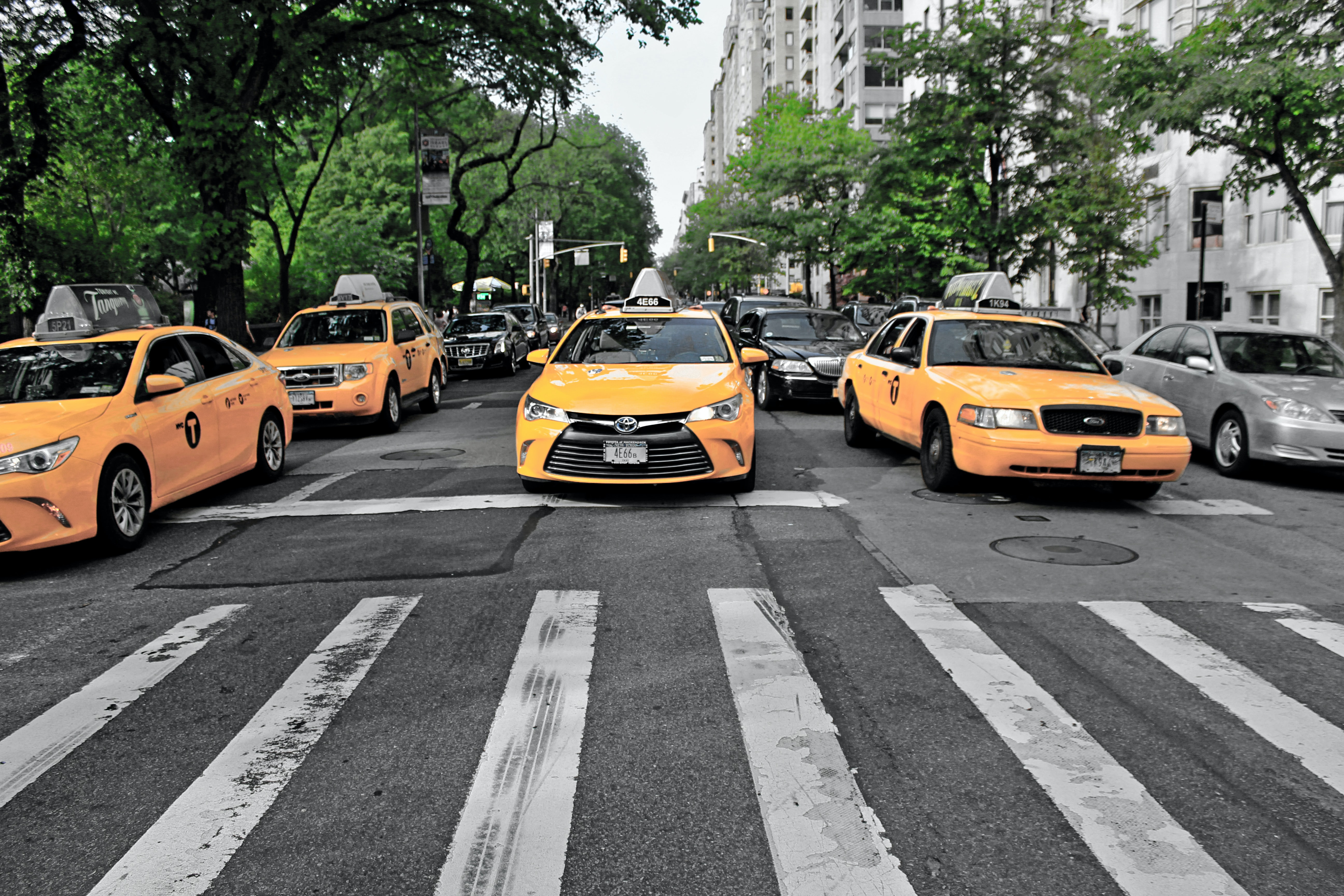 four yellow cars on gray road