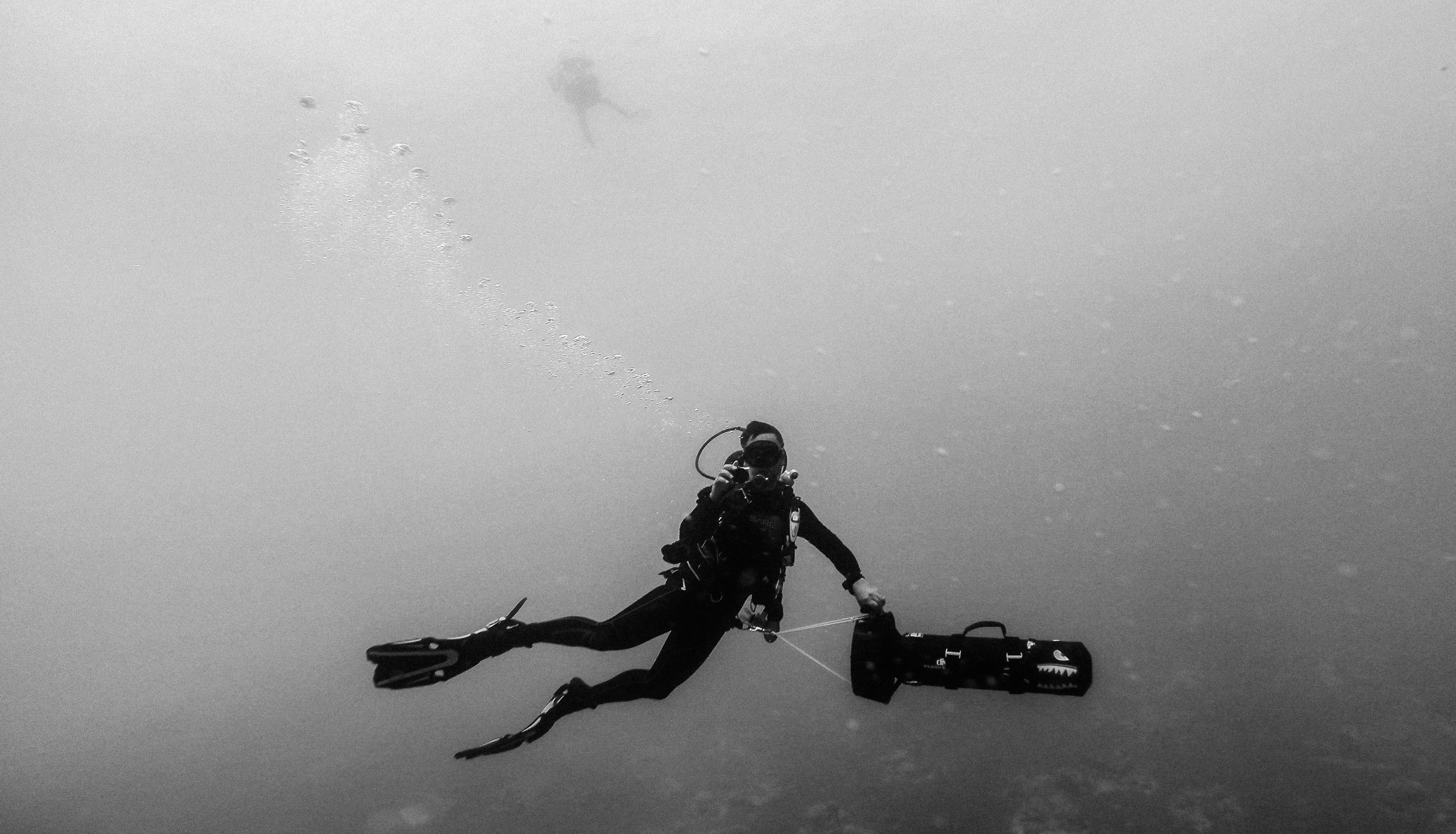 Black and white shot of scuba diver in wetsuit with flippers and tank, Red Sea Parasailing