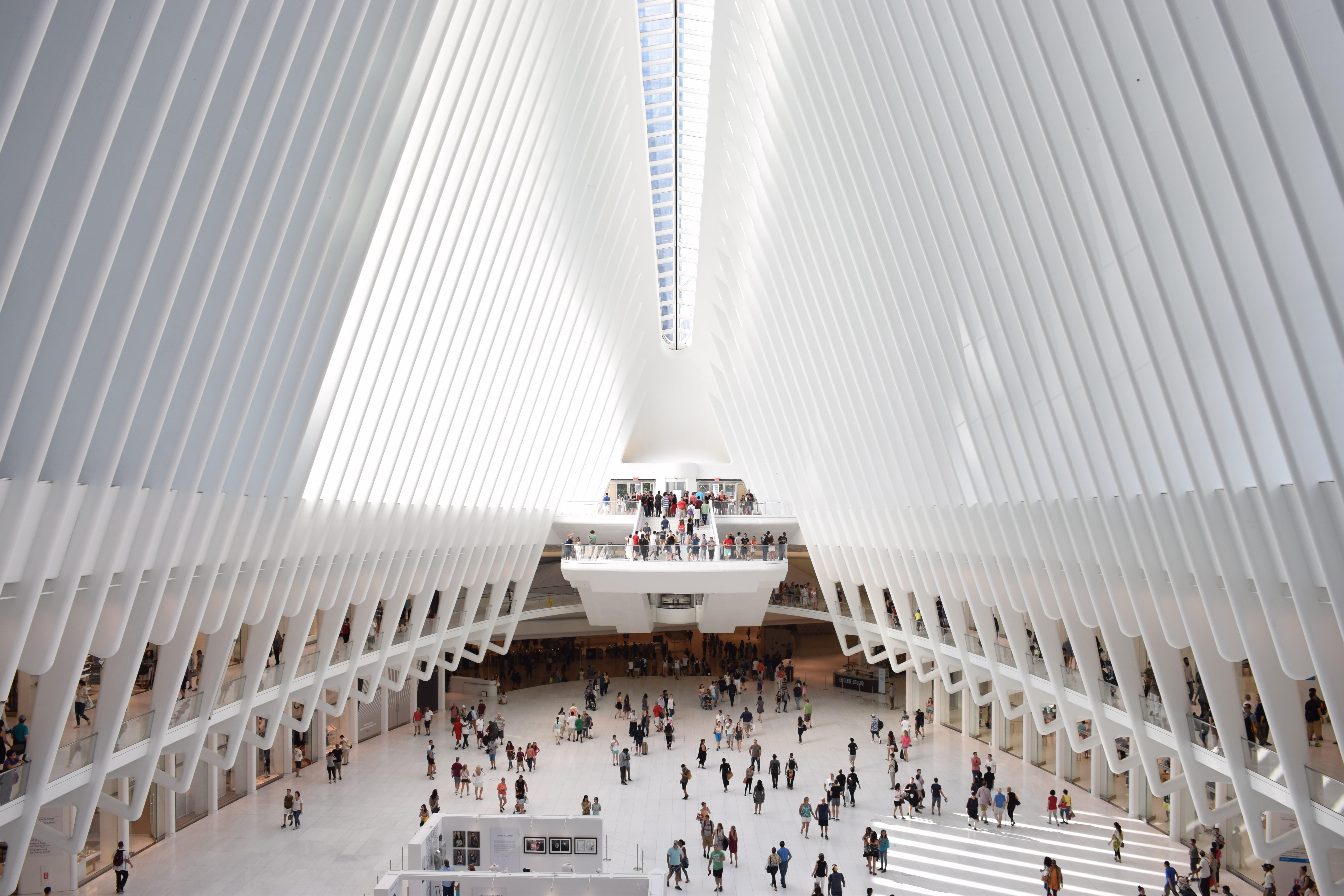 The crowded modern interior of the WTC Transportation Hub in New York City