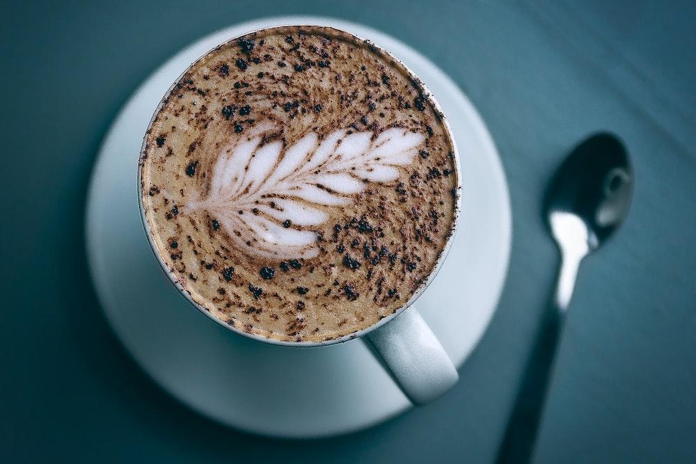 brown coffee in the white mug