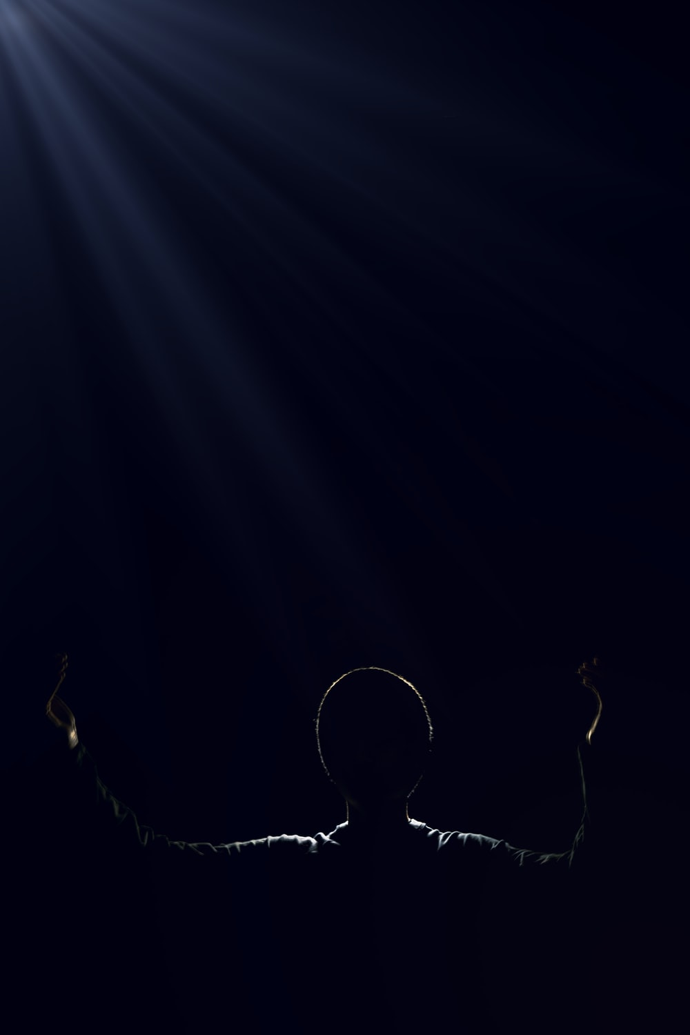 silhouette of person raising two hands