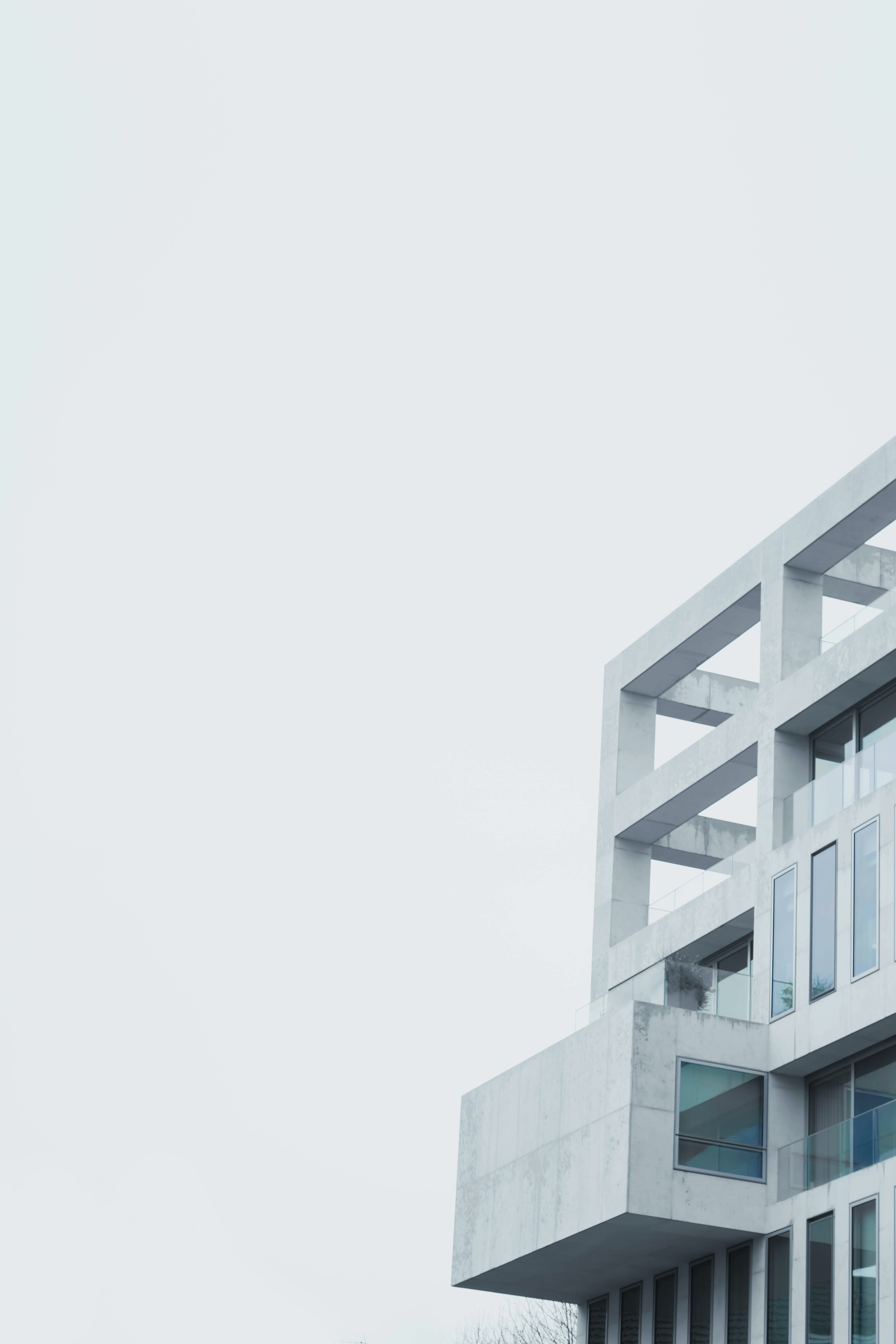 An austere white marble building facade in London