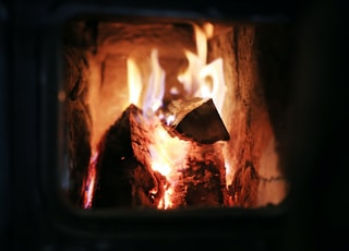 macro photography of wood burning