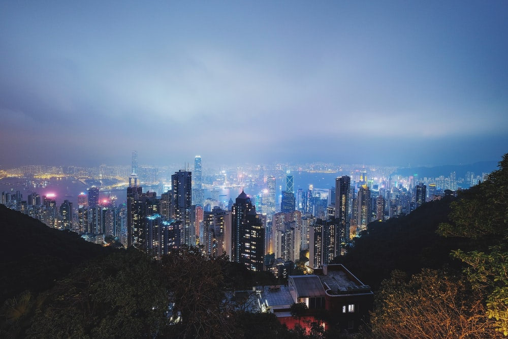 aerial photography of cities during night time
