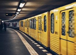 focus photo of yellow train