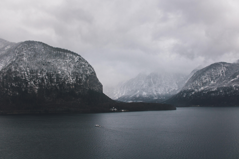 A sailboat on a mountain lake near Hallstatt