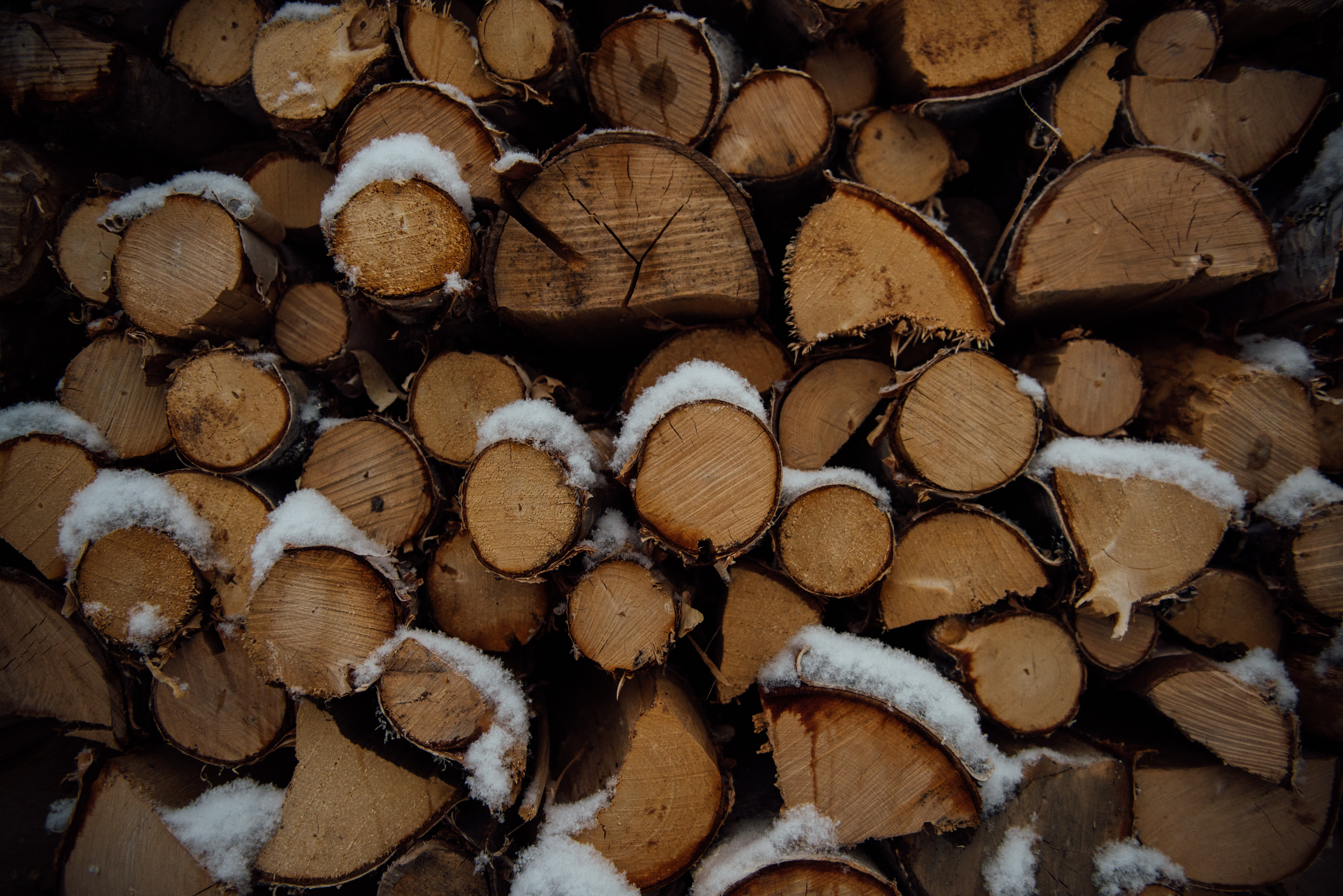 A pile of firewood covered in a thin layer of snow