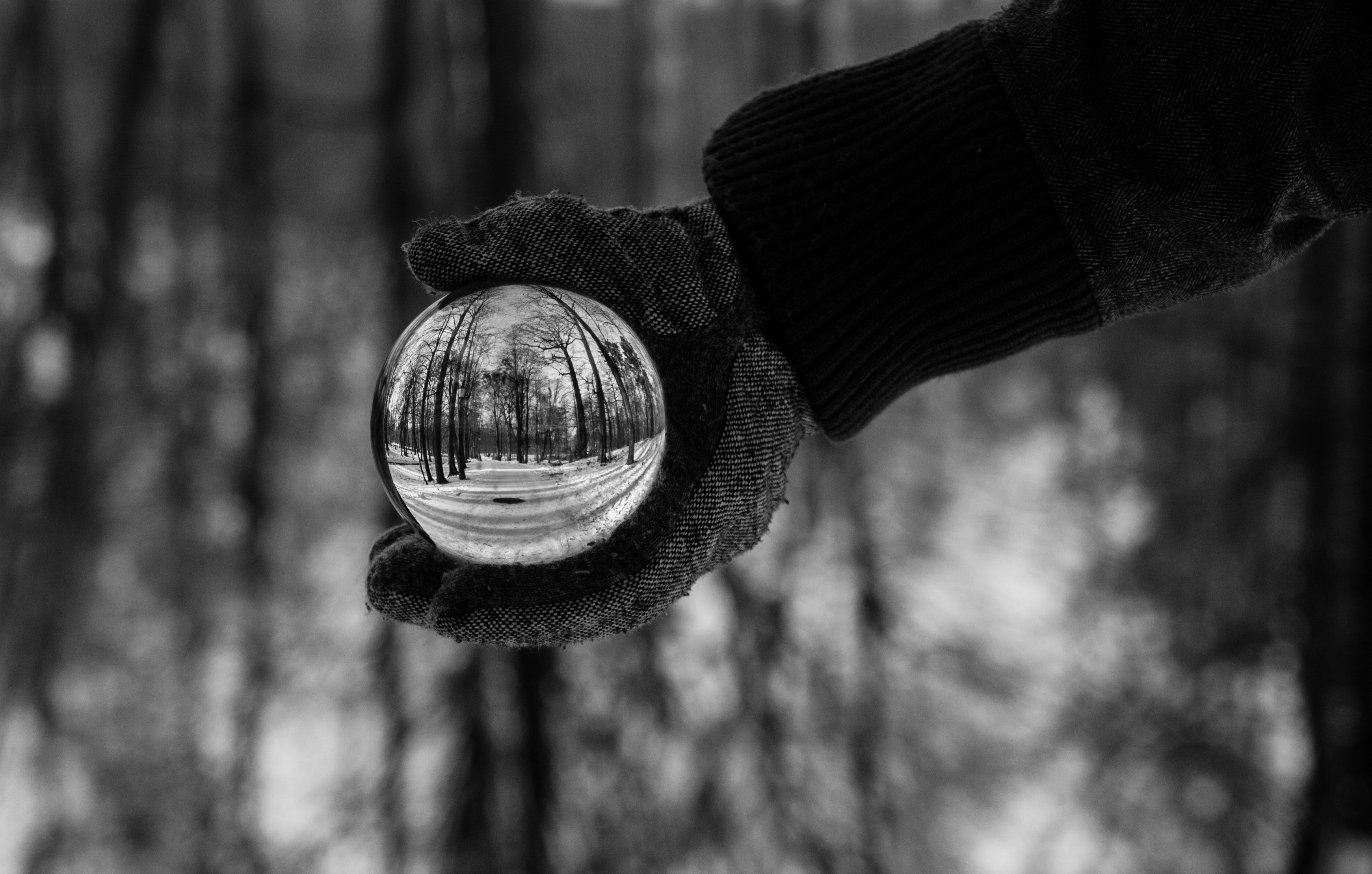 Person wearing a glove and a coat holding a crystal ball in black and white
