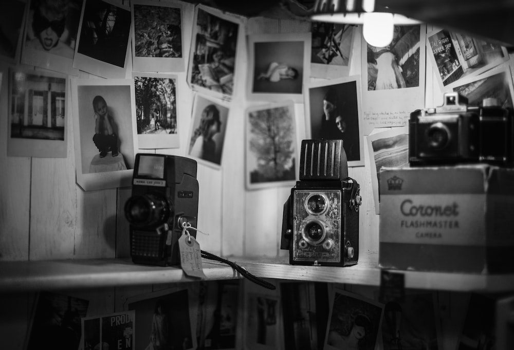 grayscale photo of vintage camera