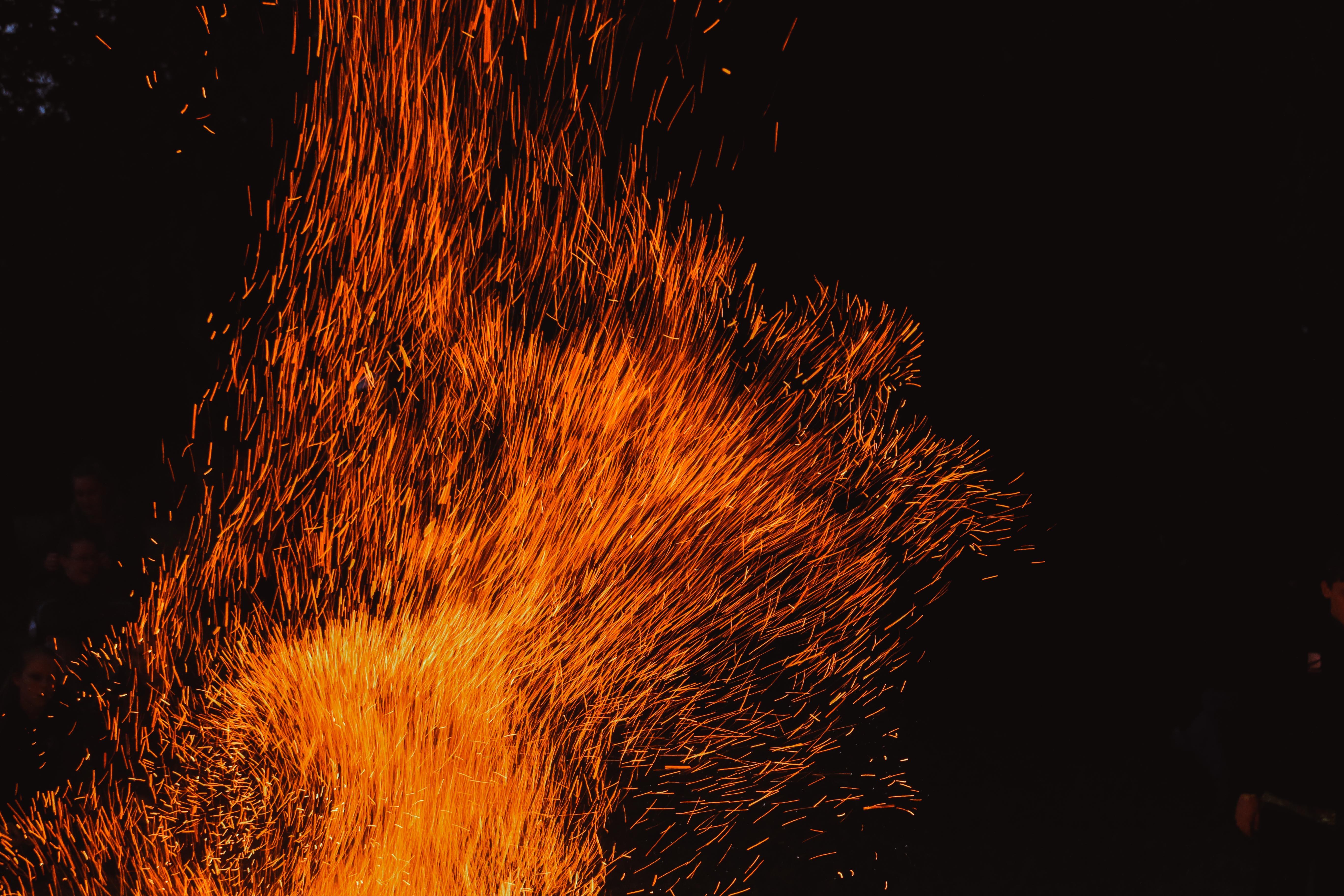 Sparks flying at night in Dunedin