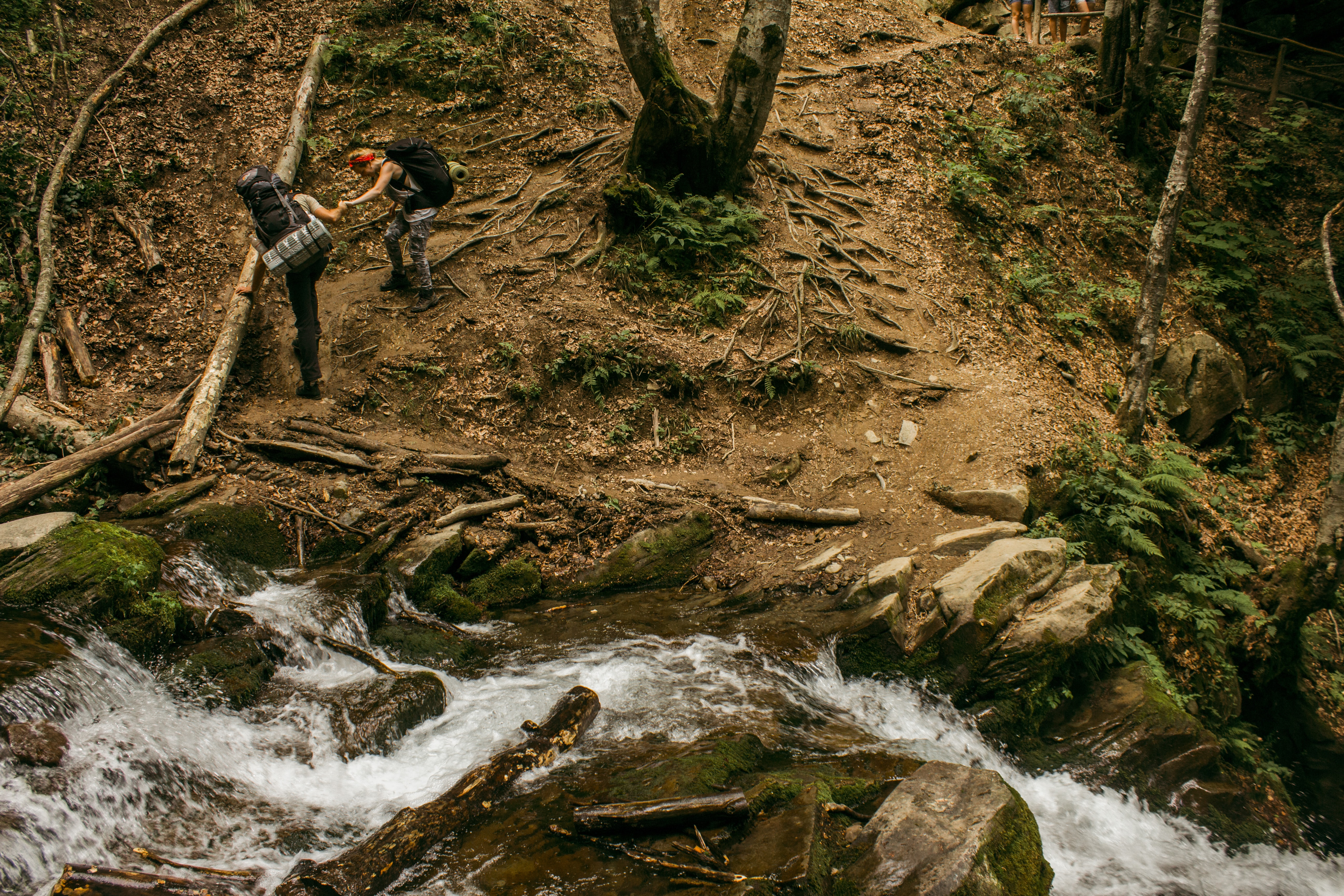 A hiker giving a hand to his friend during a descent from a steep slope by a forest creek