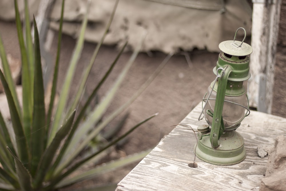 green lantern in shallow focus lens