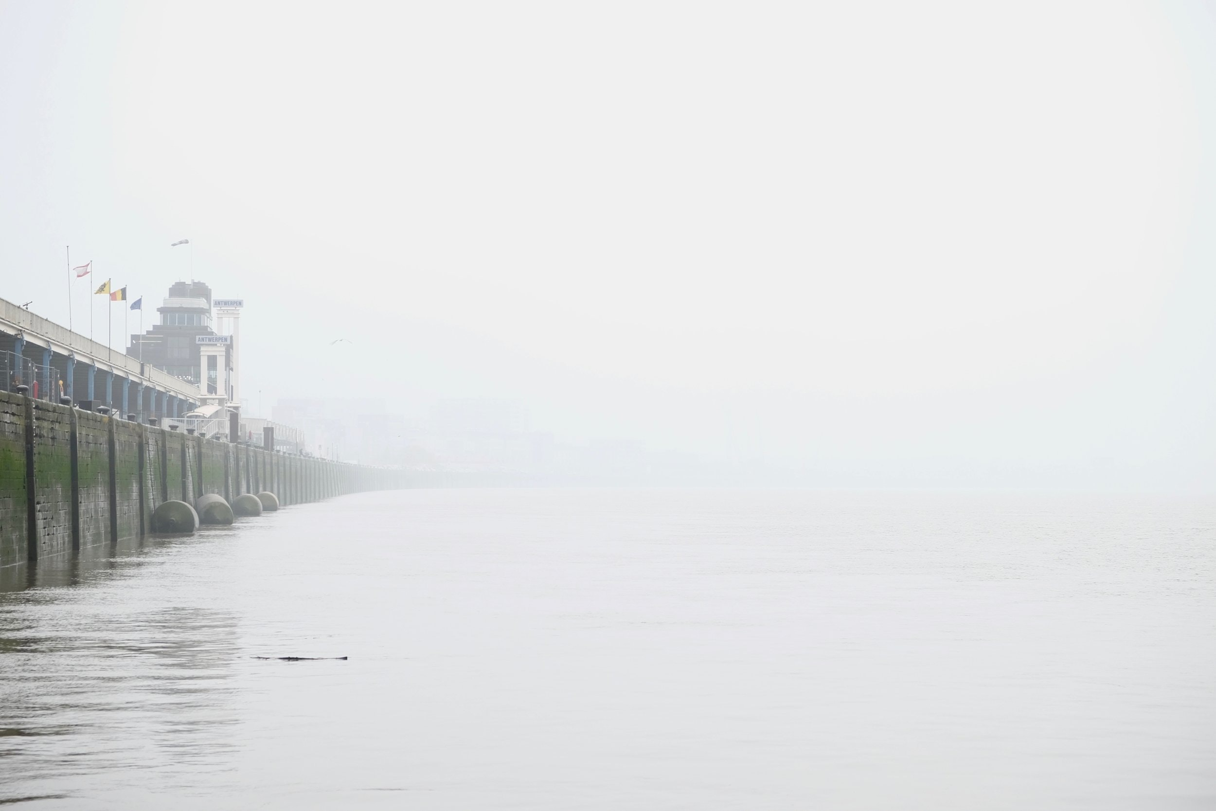 Wall by the seaside on a foggy morning in Antwerp