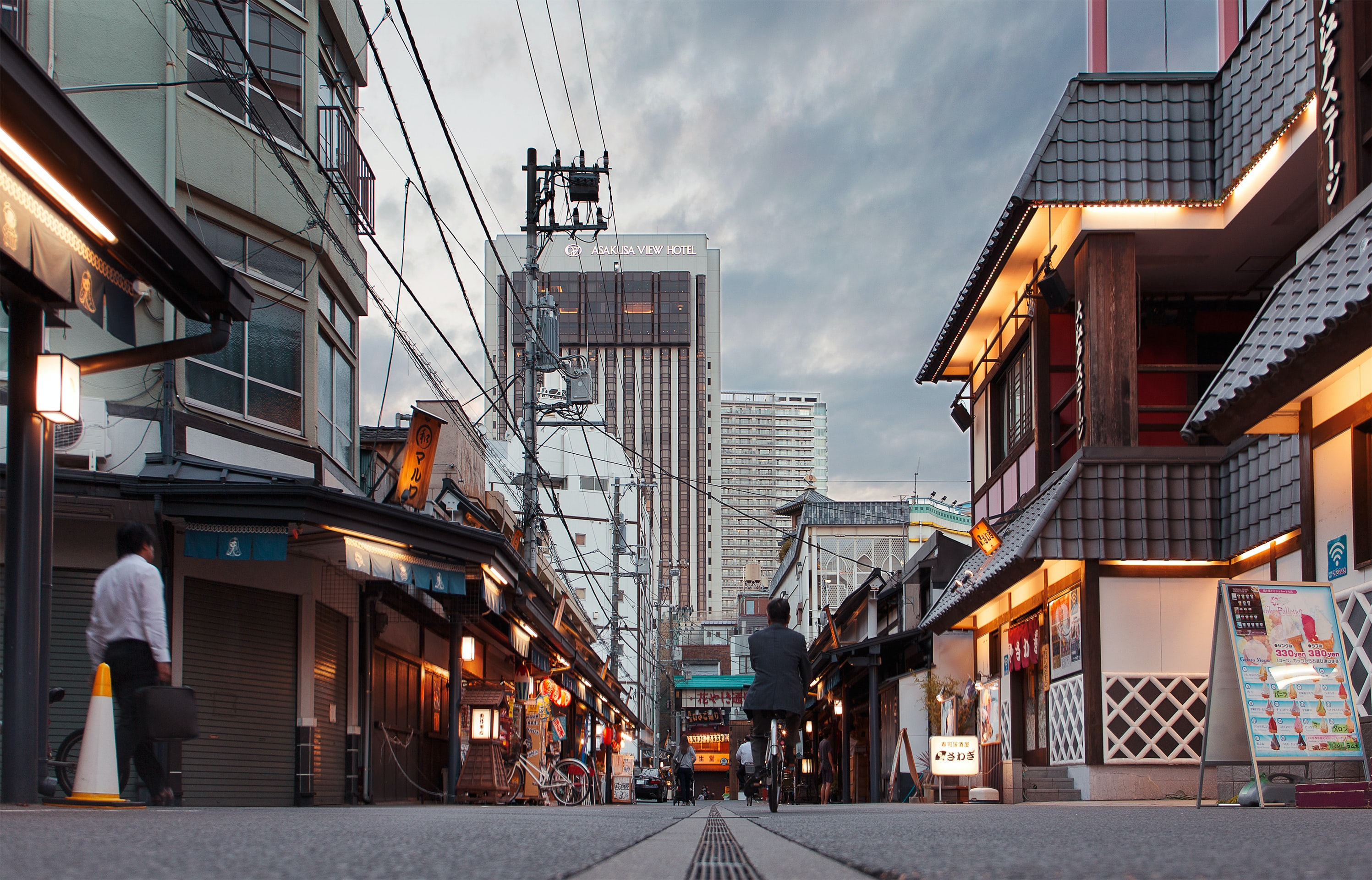 A low shot of a quiet side street in Asakusa