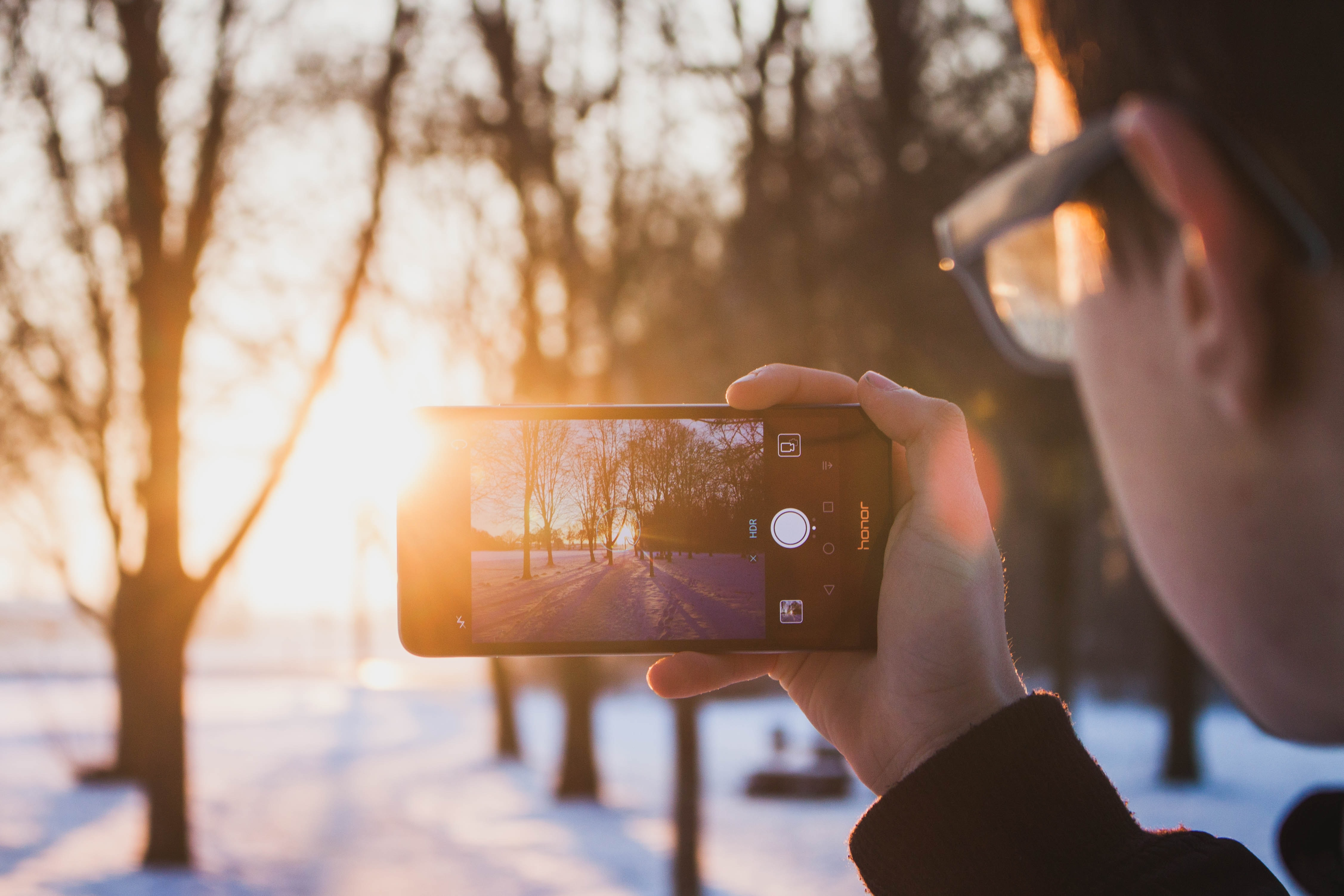 A man taking a photo of bare trees in the winter with a smartphone