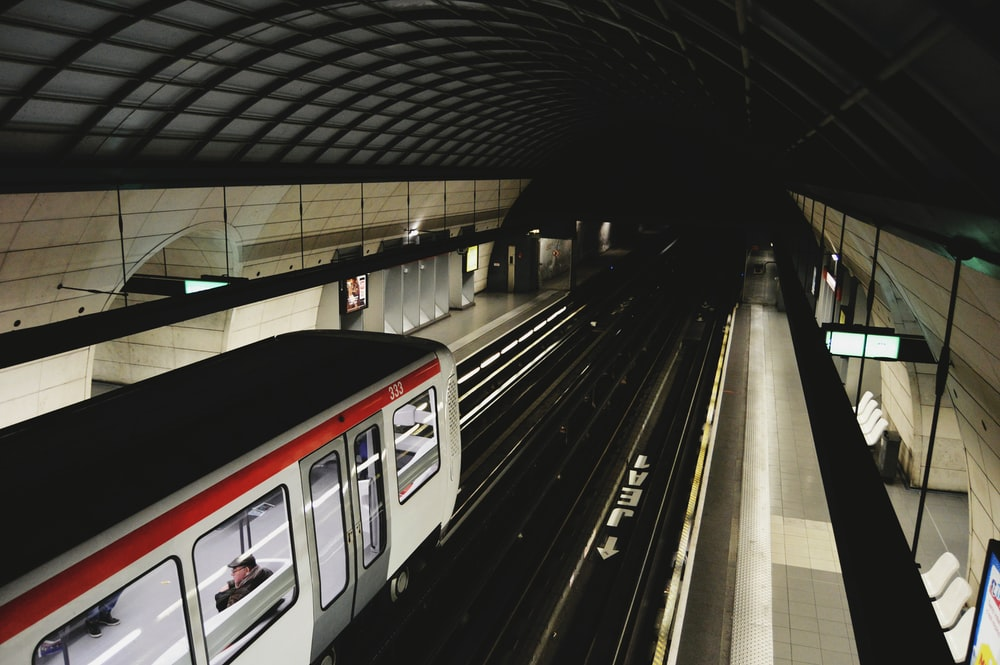 top view photography of subway