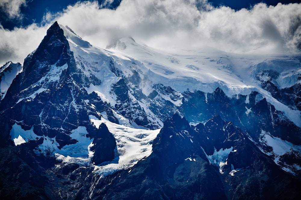birdseye photo of mountain covered with snow