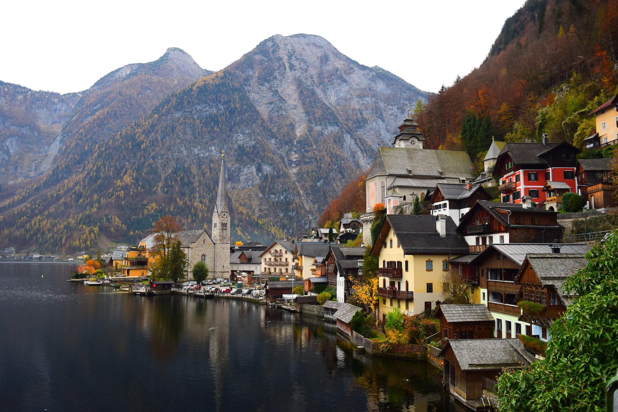 This photo was taken overlooking the town of Hallstatt in Austria, in autumn