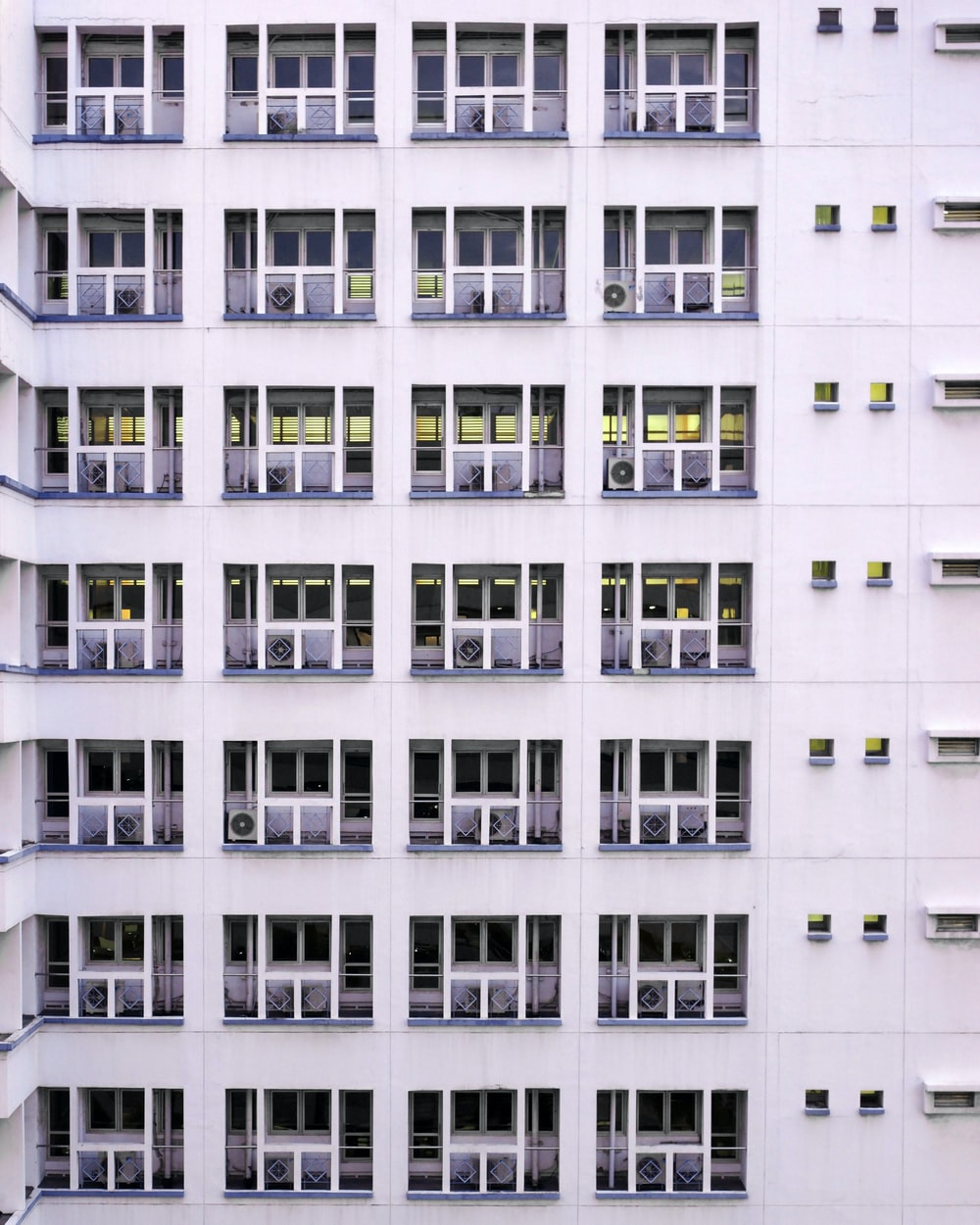 white and black painted concrete building