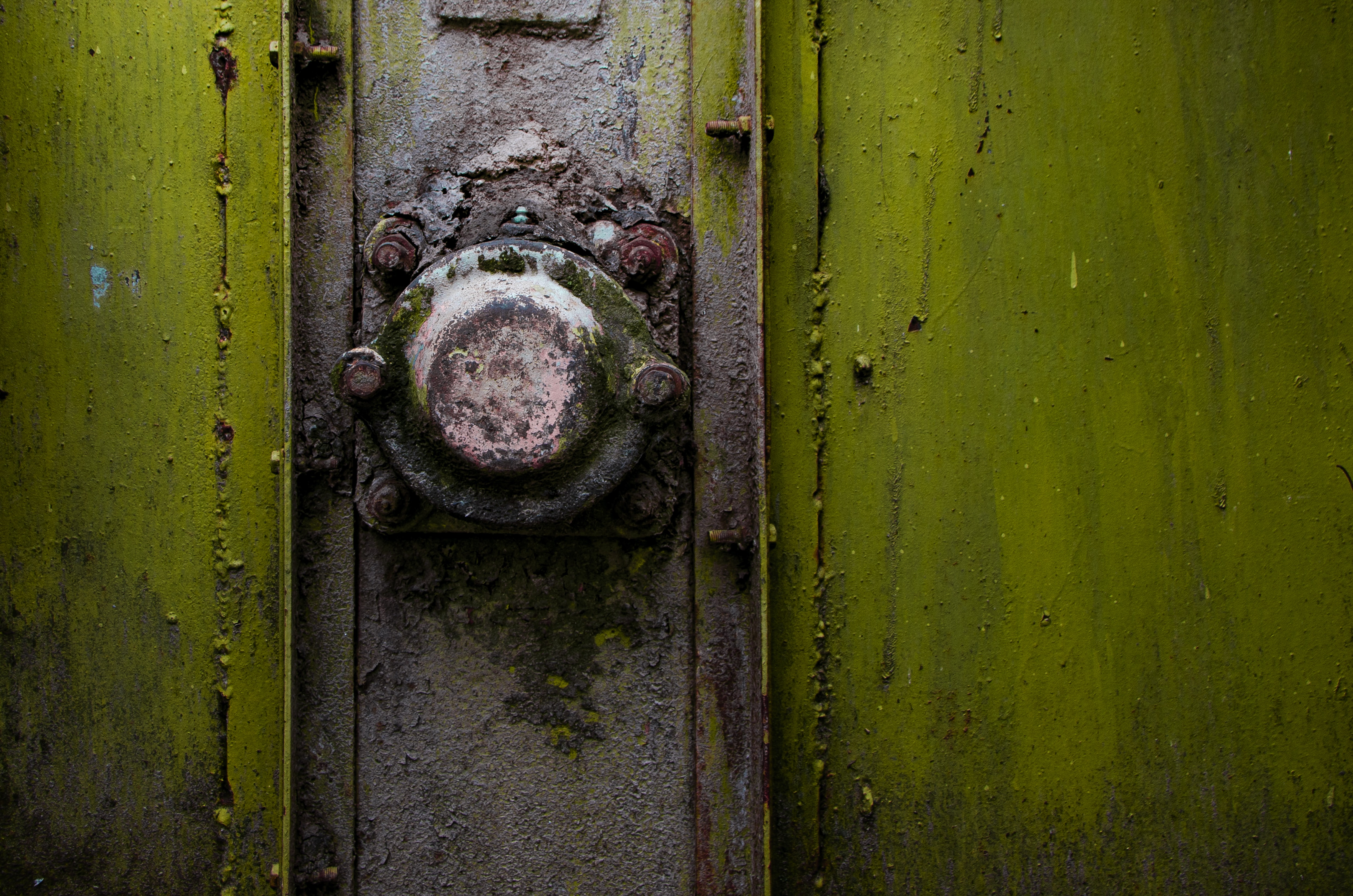 A close-up of a rusty metal knob on a green strongbox
