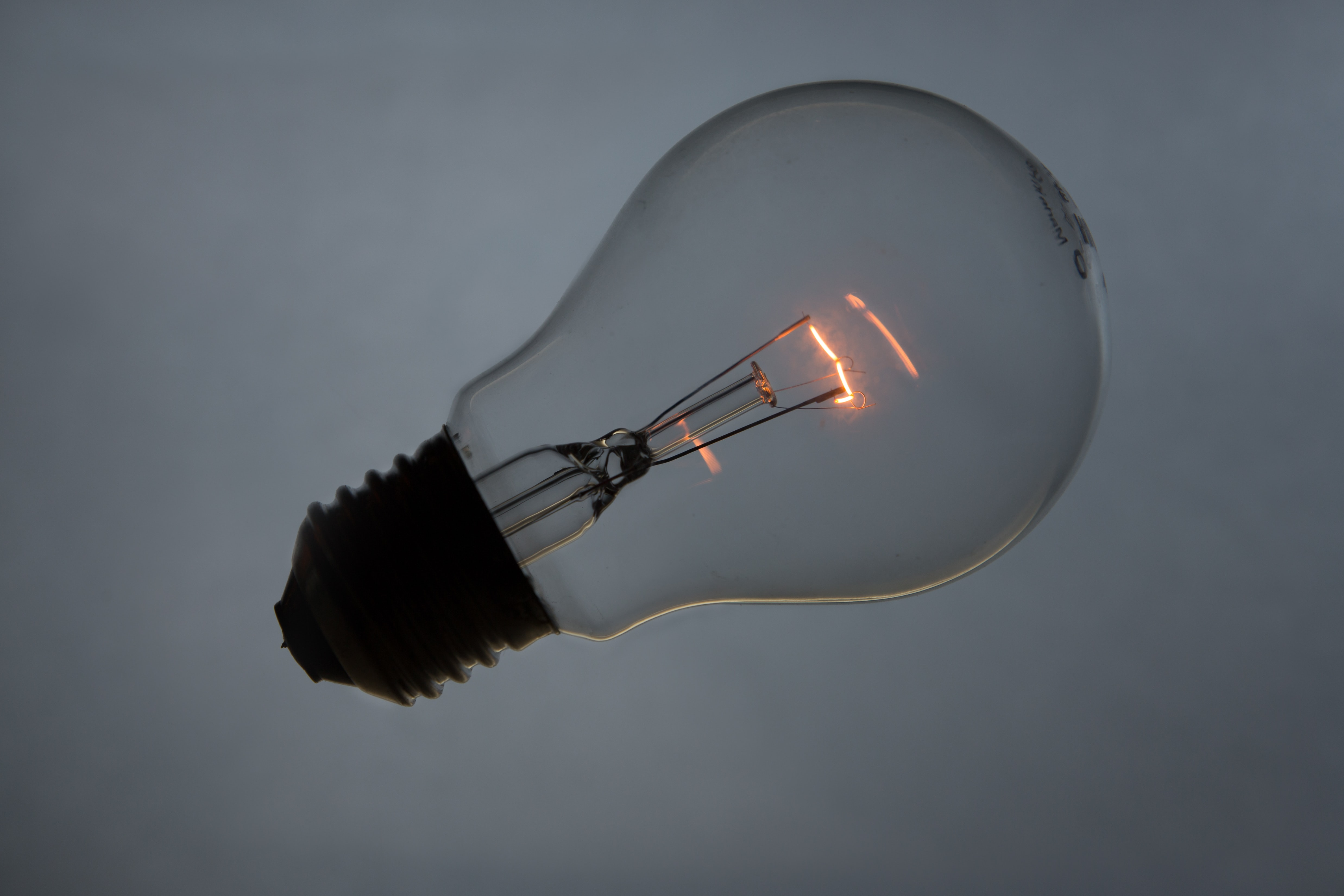 Wireless light bulb with glowing filament inside