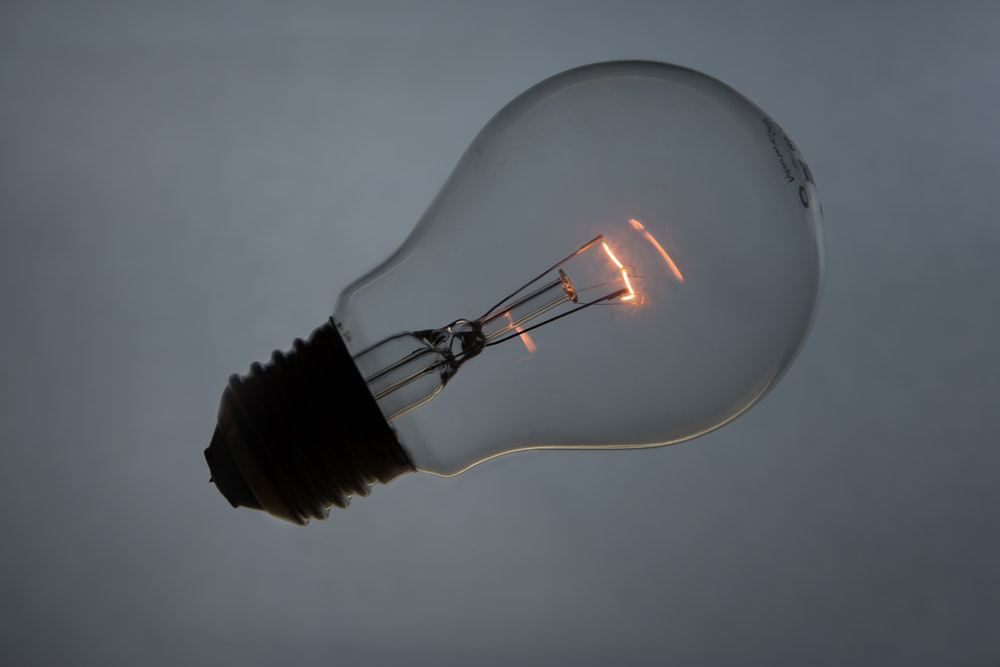 gray incandescent lamp photography