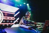 DJ playing DJ turntable