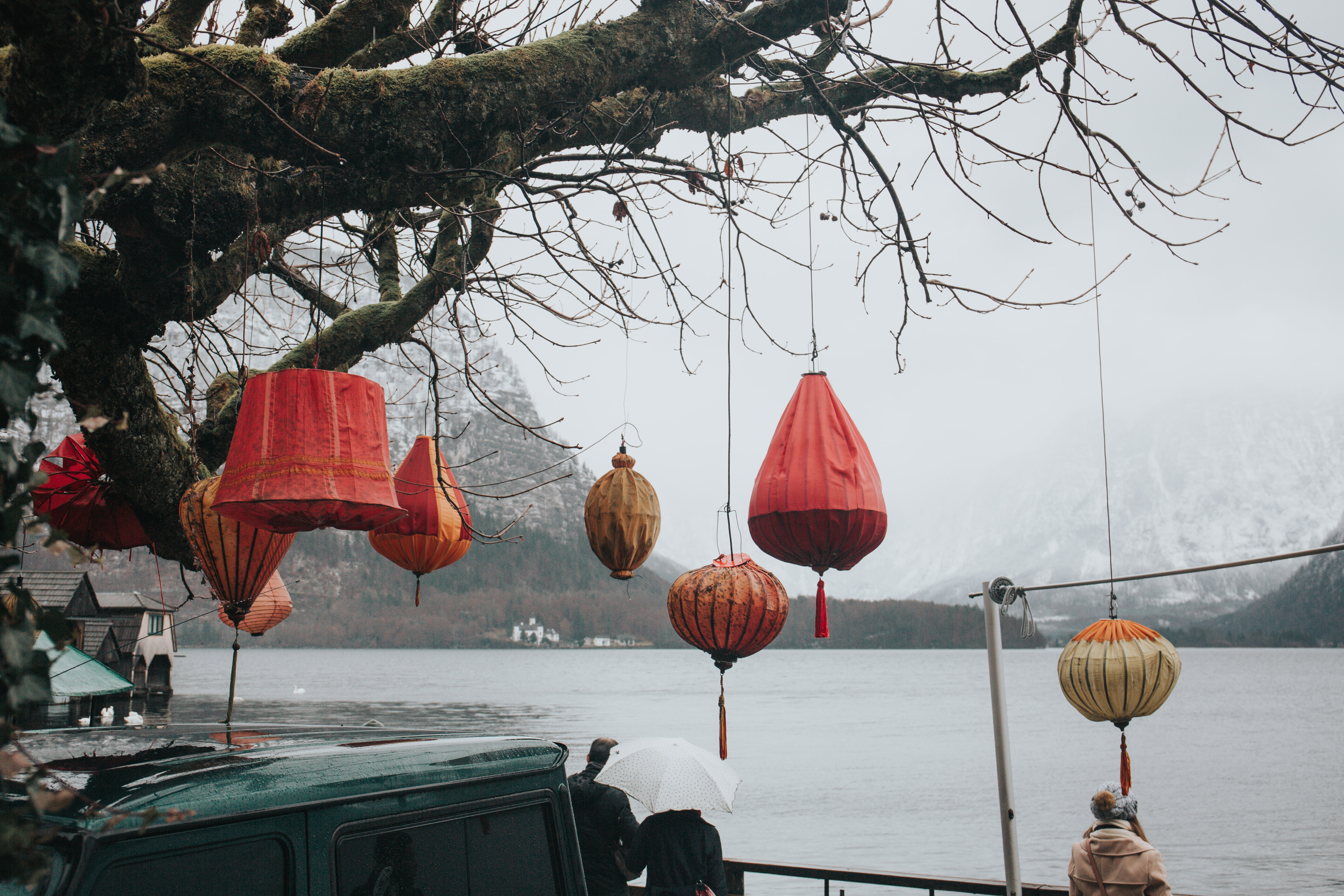 Colorful red paper lamps hang from a tree overlooking the water and a winter landscape