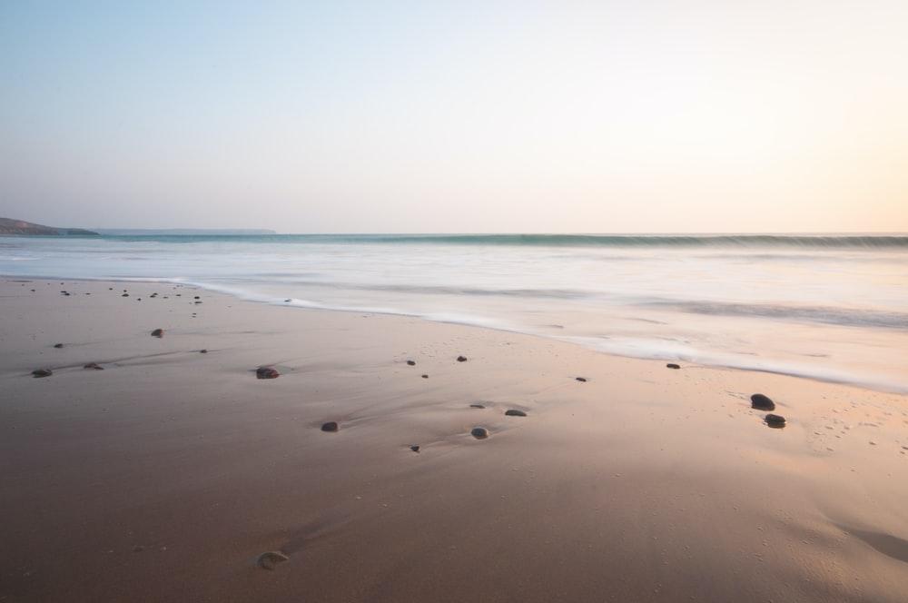 photo of seashore under gray sky