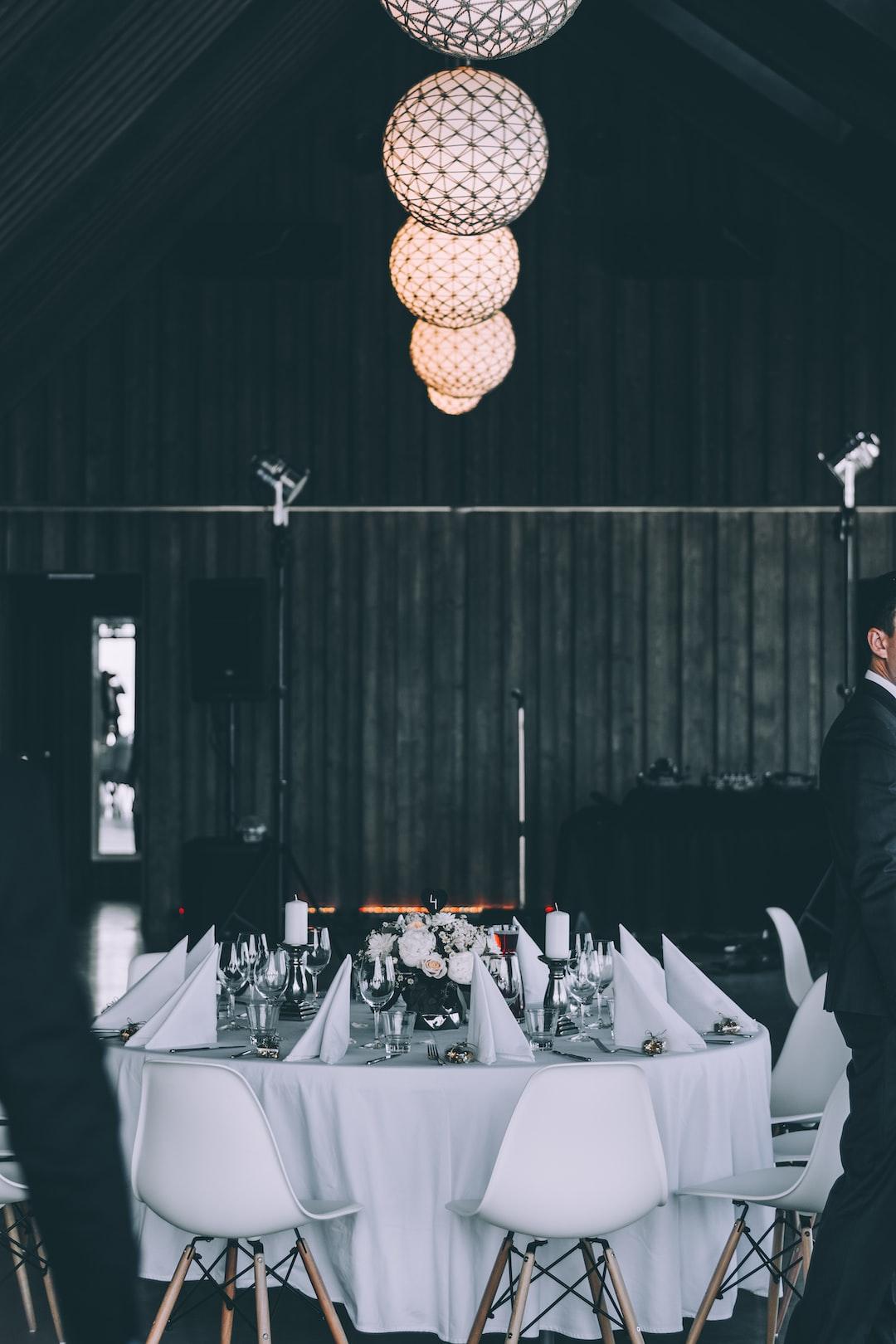 White set table