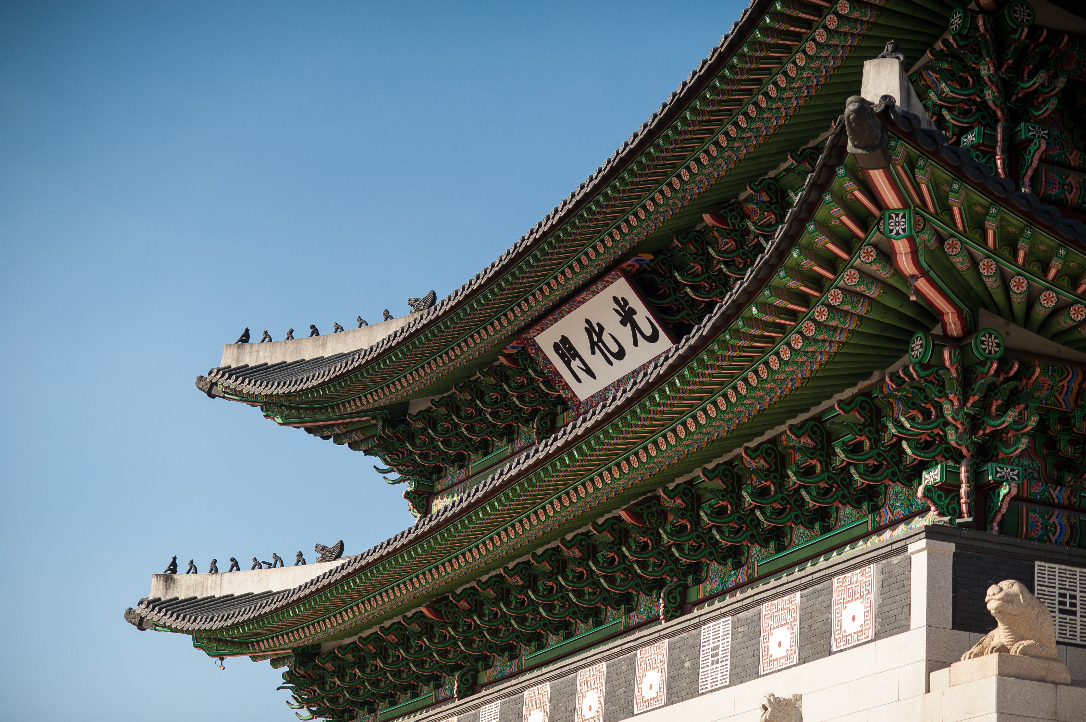 green and white temple at daytime