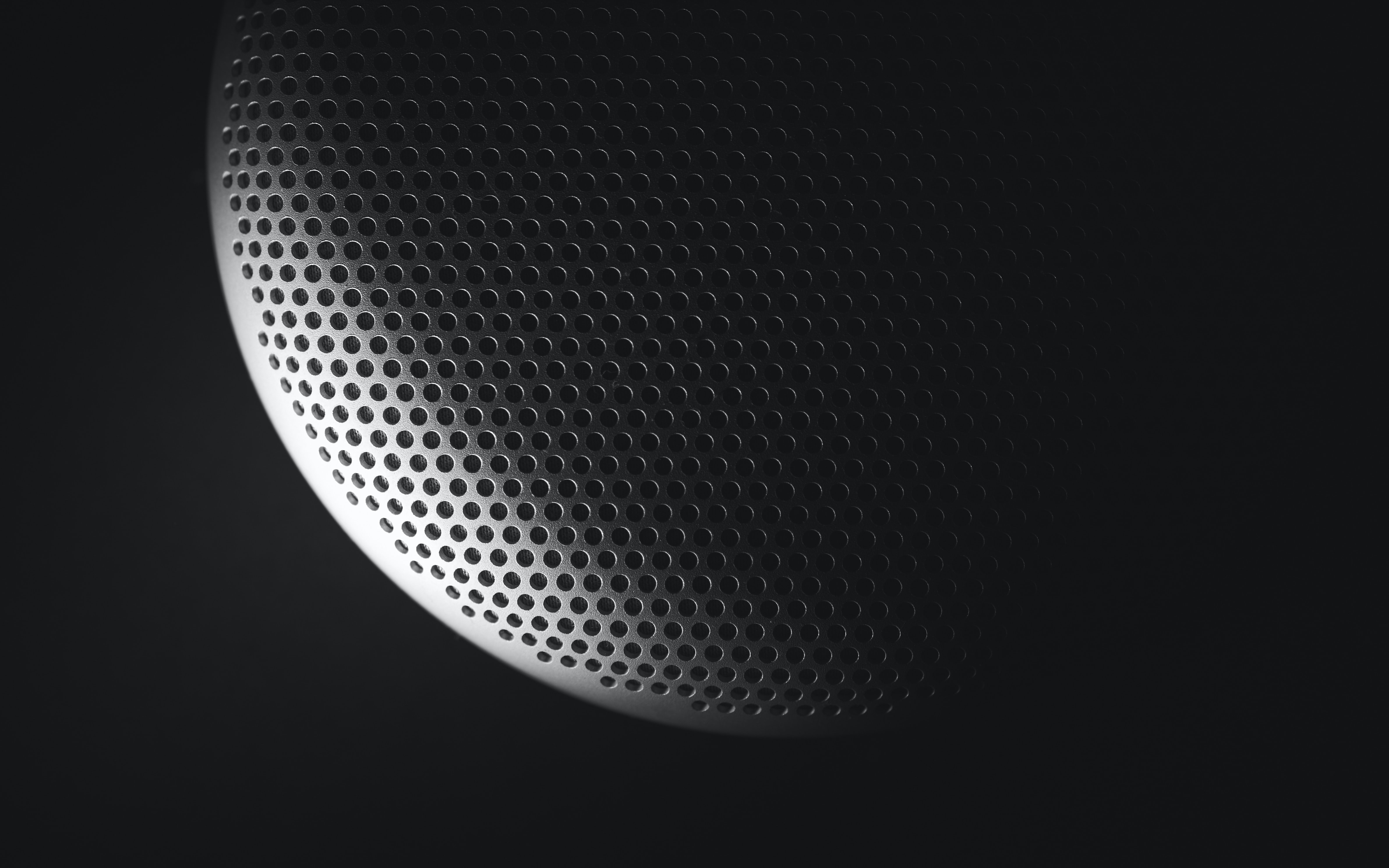 Black and white macro of digital dots on speaker or microphone, Province of Cremona
