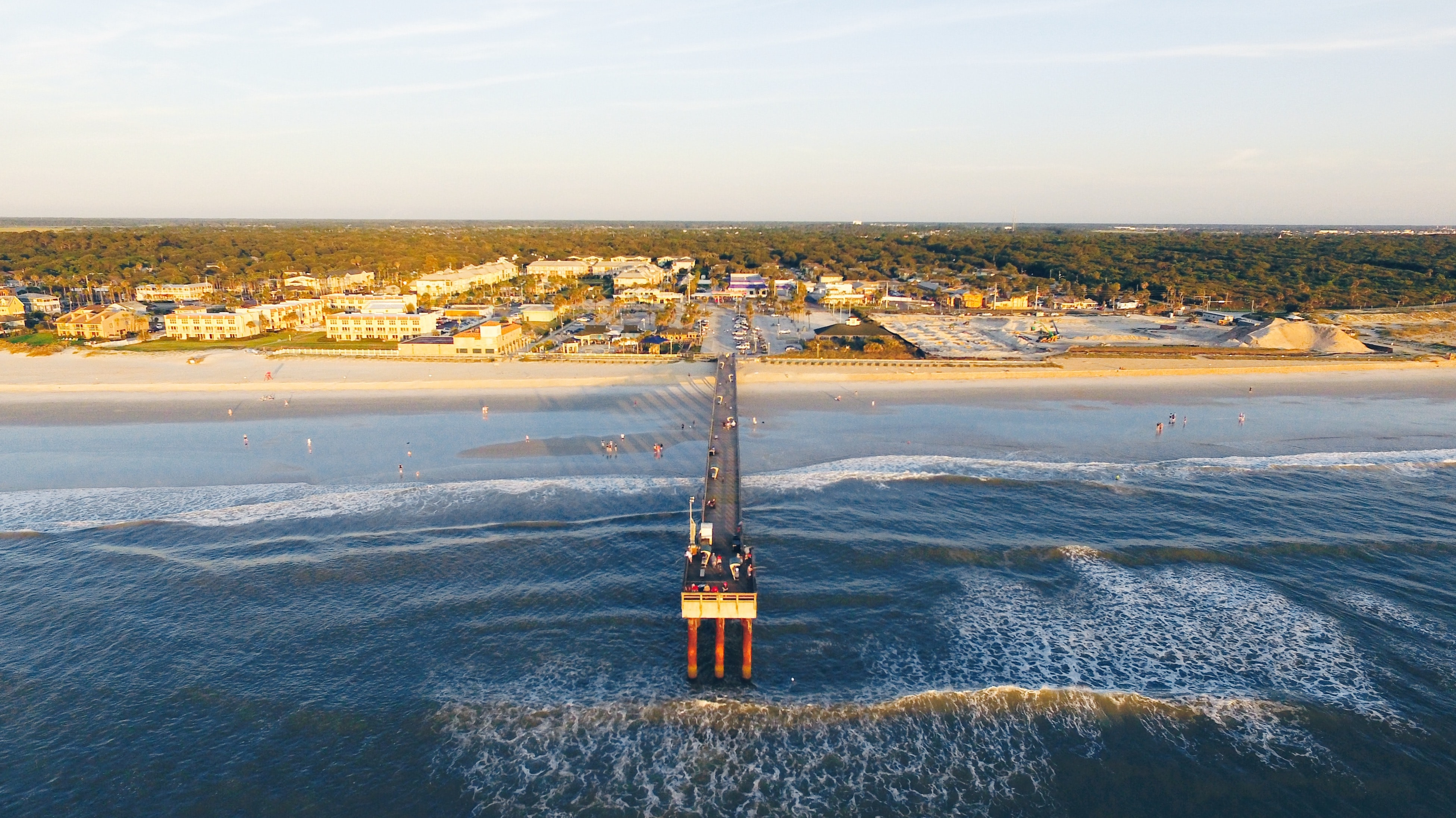 Drone view of an ocean pier in the coastal town of St. Augustine, Florida.